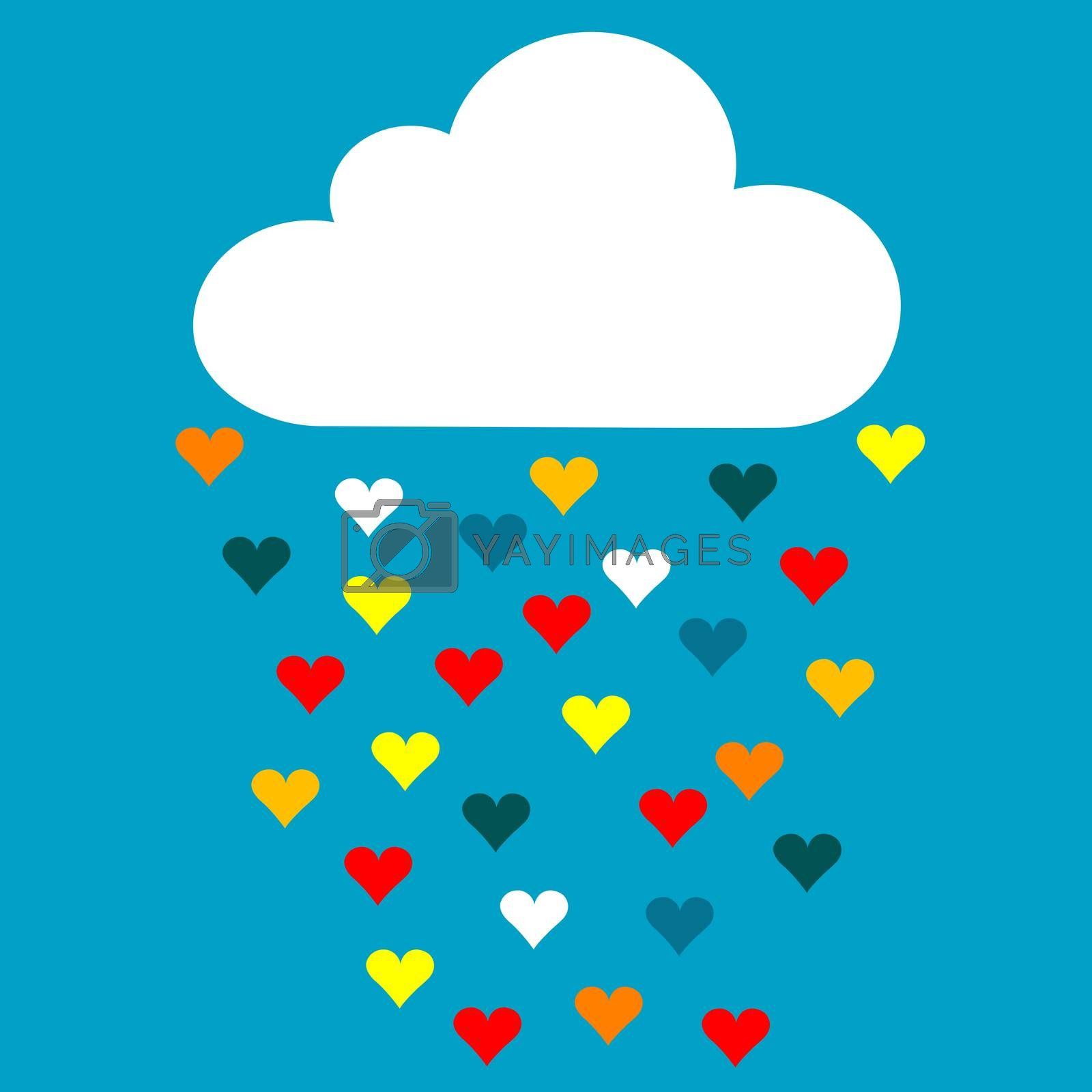 Cartoon cloud with rain drops of colored hearts in the blue sky