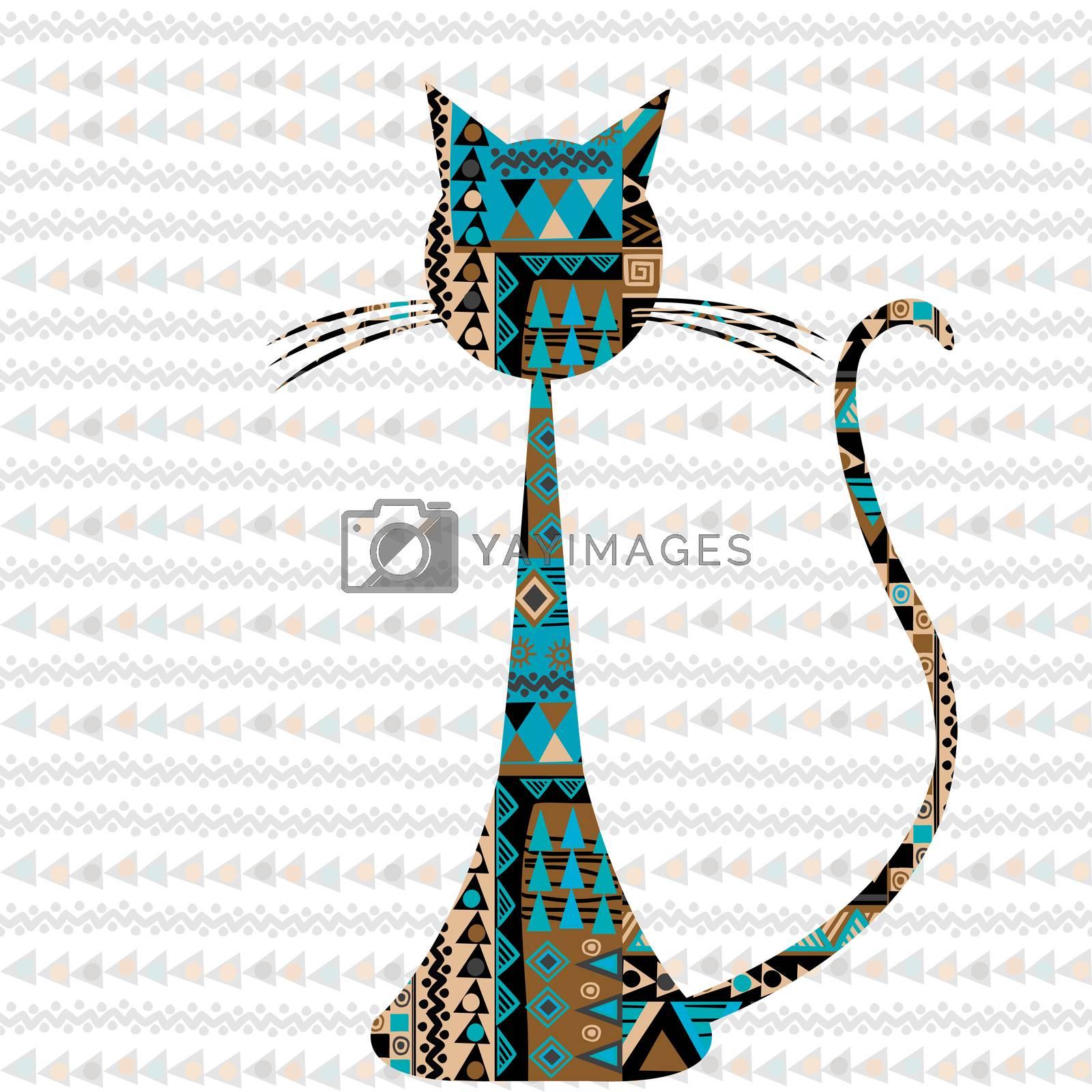 Ethnic motifs pattern ornate cat