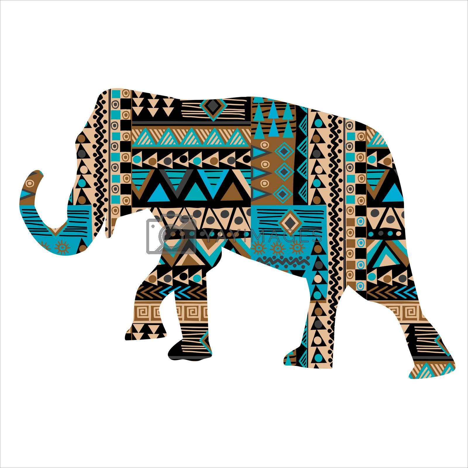Ethnic motifs pattern ornate elephant