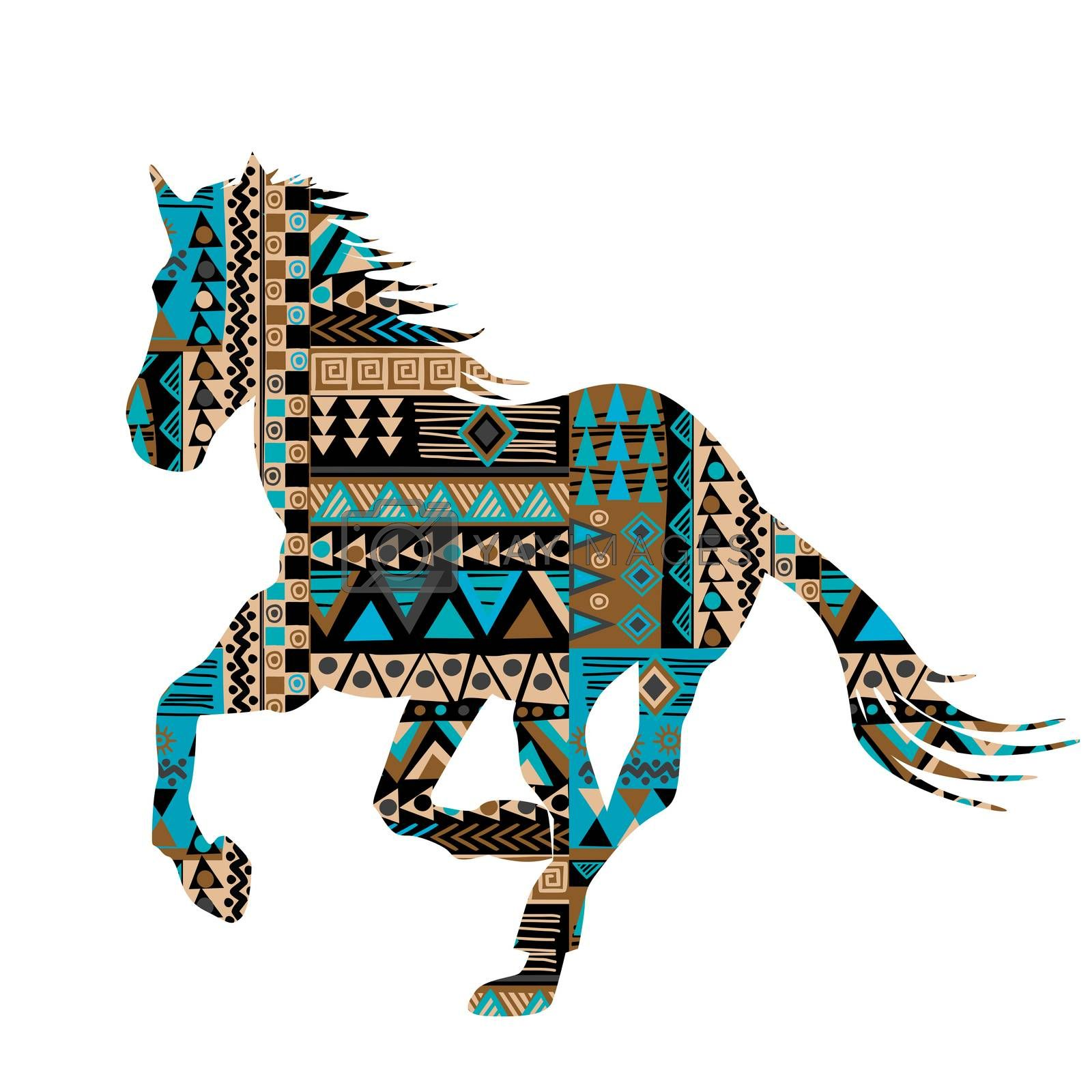 Ethnic motifs pattern ornate horse silhouette