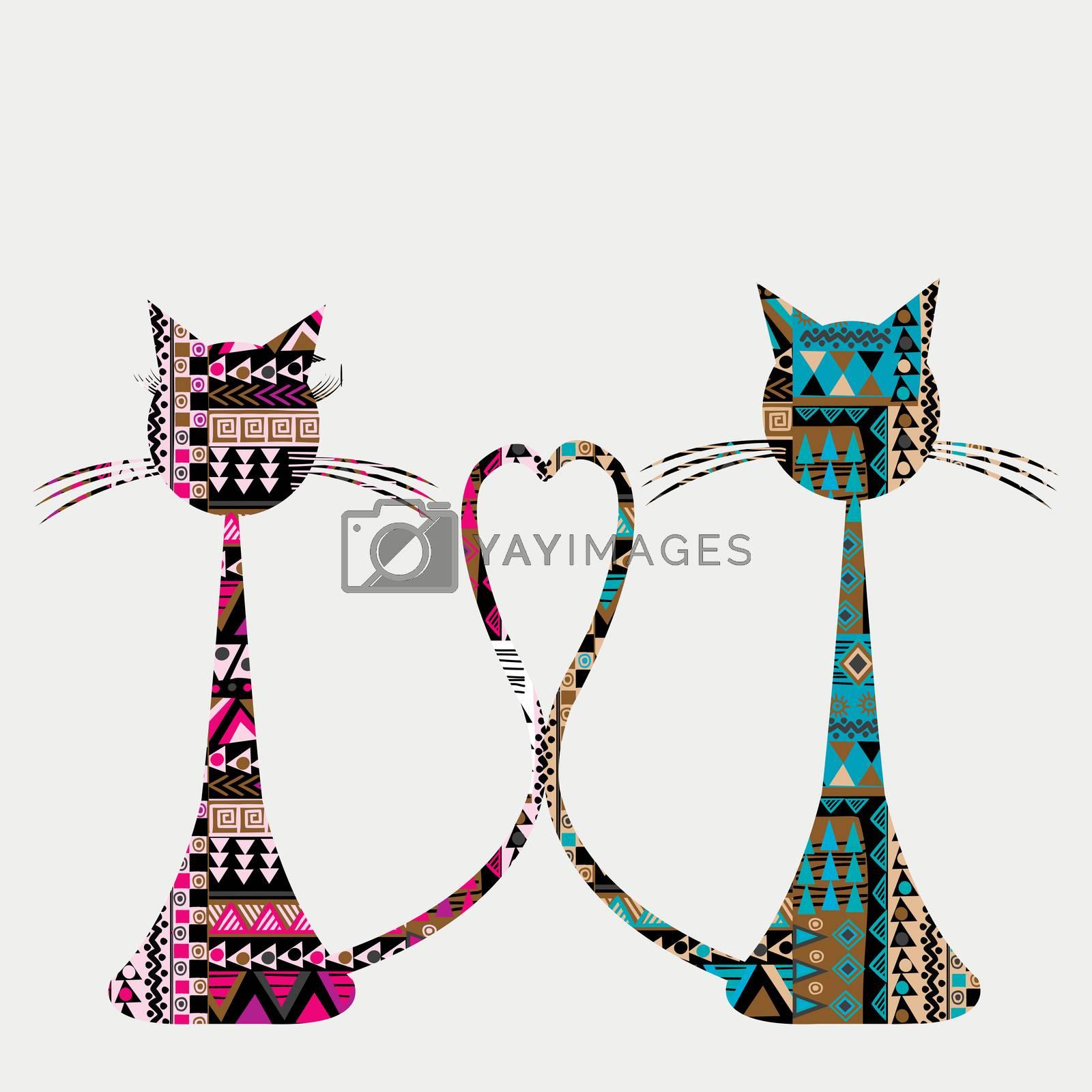 Ethnic motifs pattern two ornate cats