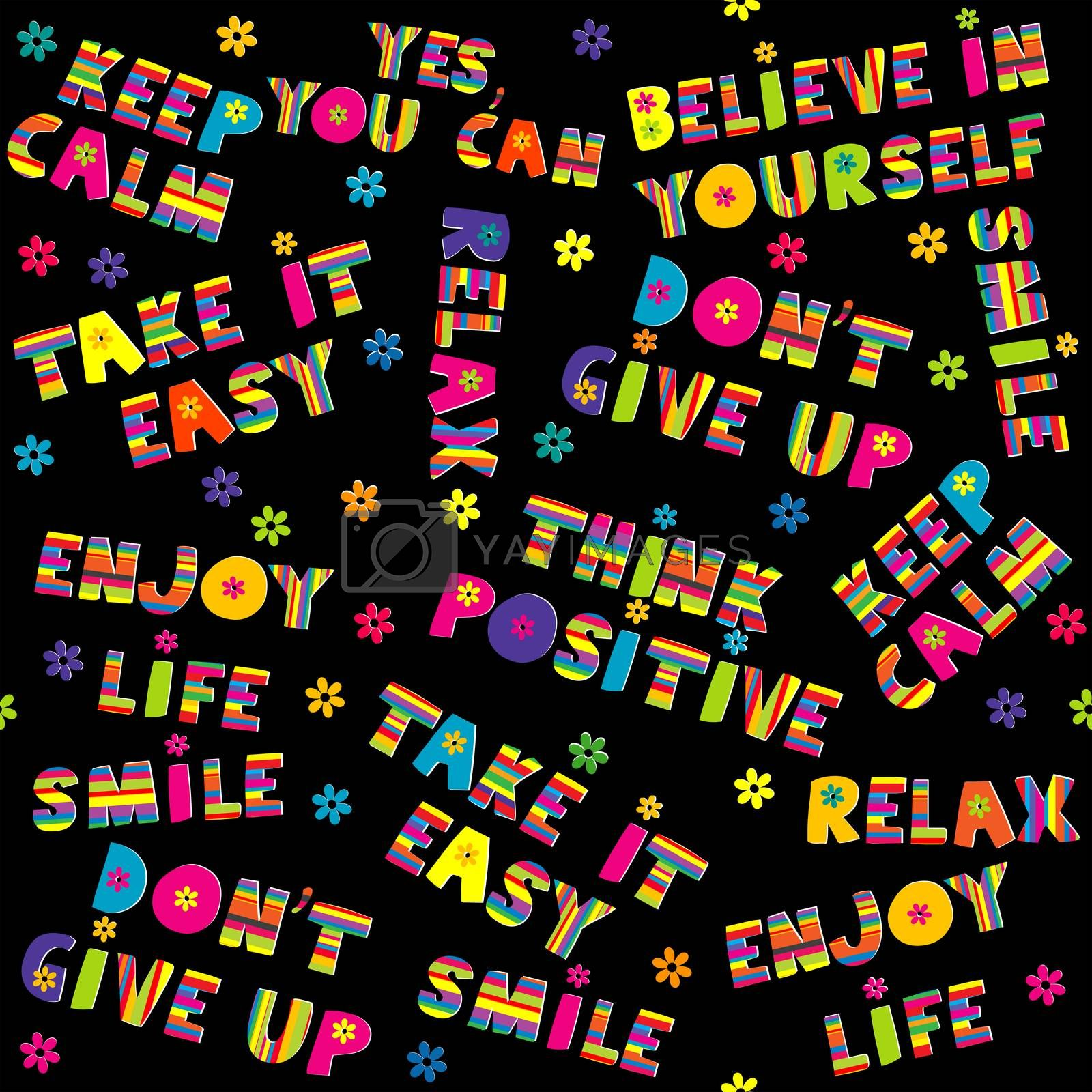 Positive inspirational quotes seamless pattern