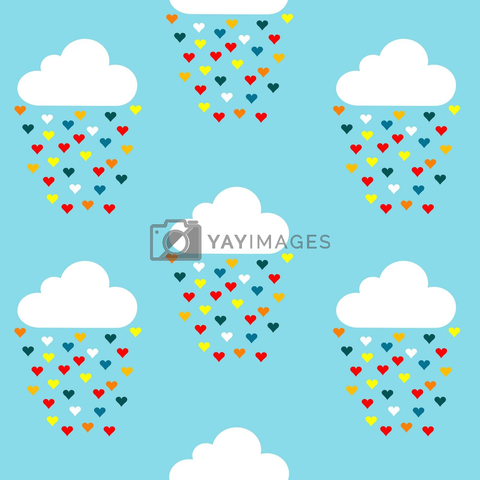 Seamless pattern with clouds and colored hearts rain