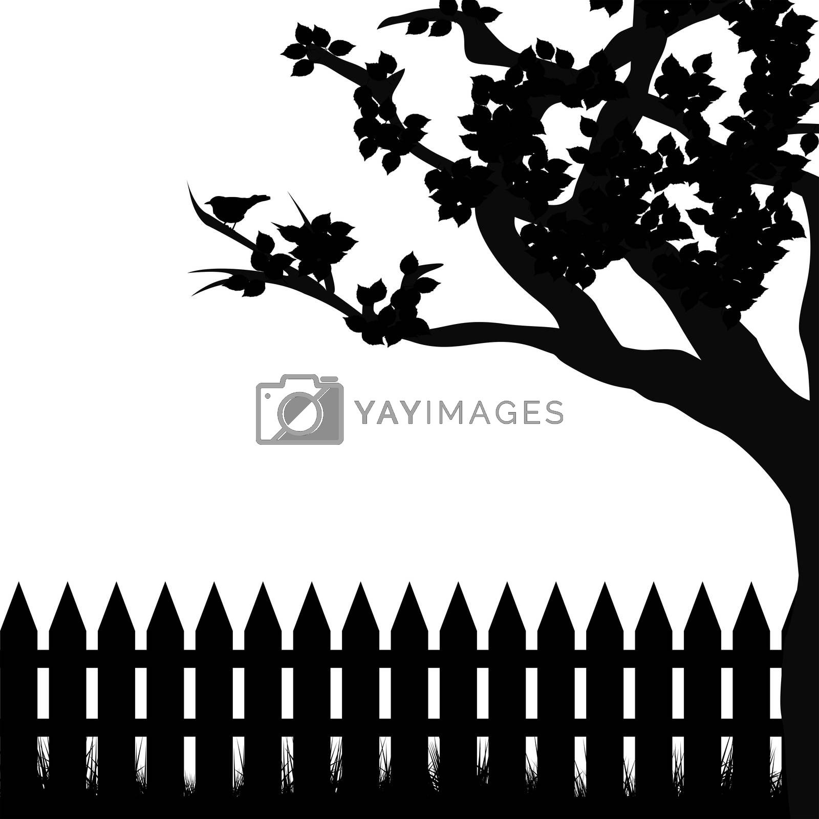 Silhouette of tree and fence