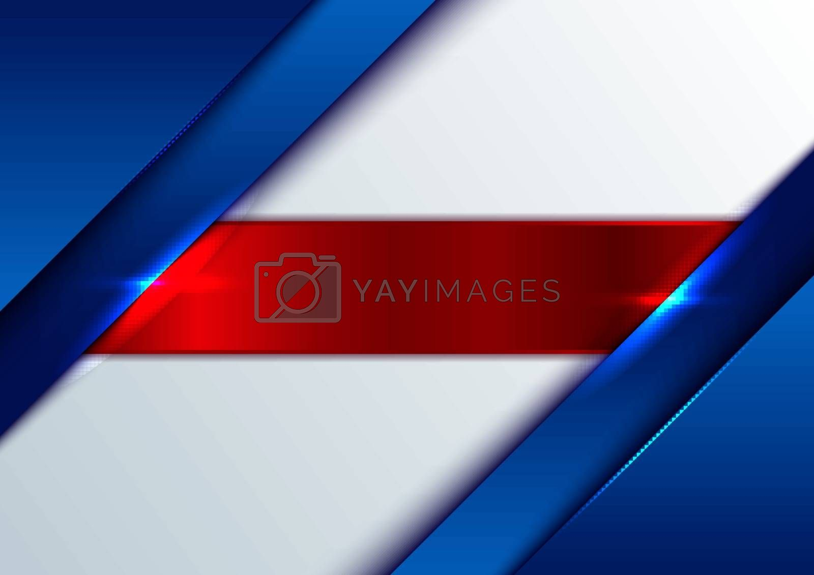 Abstract template blue glossy metallic with shiny red stripes on white background. Vector illustration
