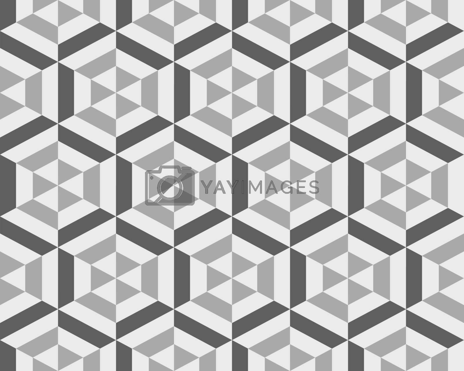 Geometric gray hexagon seamless pattern, abstract  background