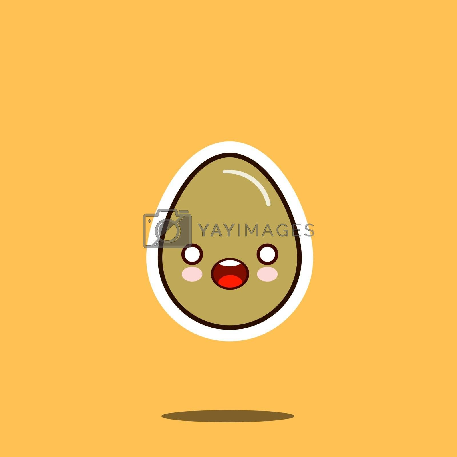Royalty free image of Cute happy egg cartoon character isolated on white background vector illustration. Funny fast food menu emoticon face icon. Happy smile cartoon face food, comical chicken egg animated mascot symbol by Alxyzt