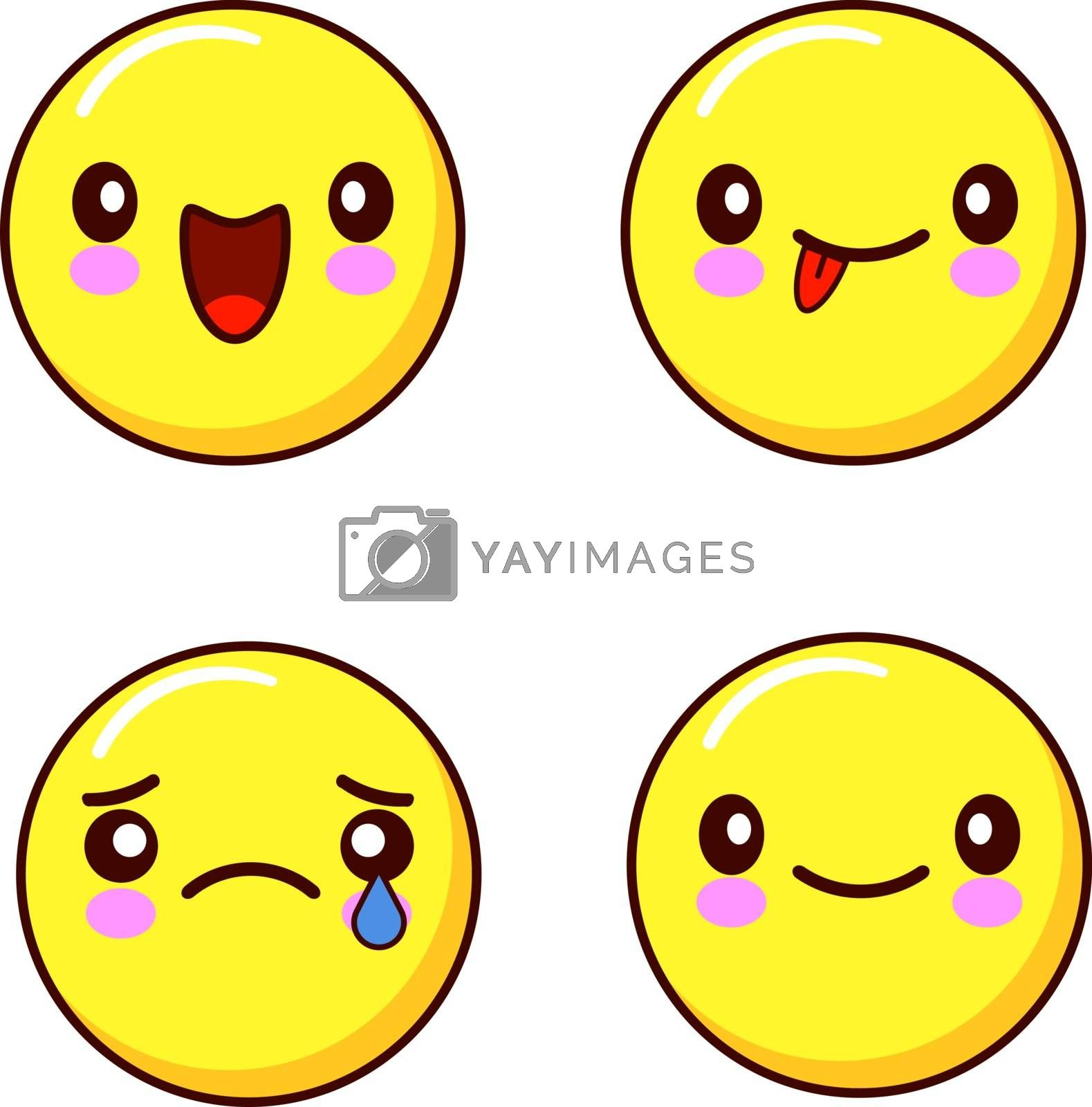 Royalty free image of Set of smiley face icons or yellow emoticons with different facial expressions i isolated in white background. Flat design Vector by Alxyzt