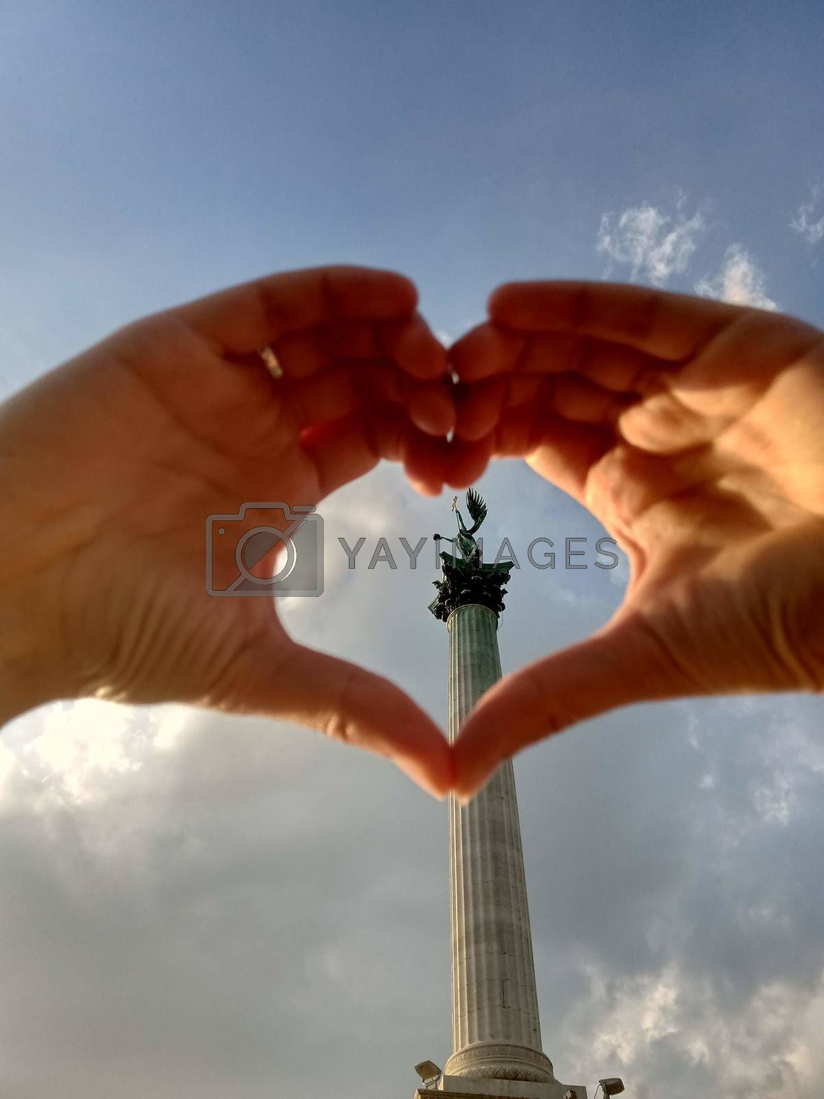 Royalty free image of Memorial statue of Heroes' Square in the form of a heart by balage941