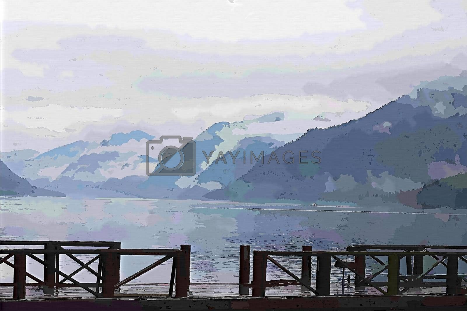 Royalty free image of A bridge over a body of water with a mountain in the background painting by balage941