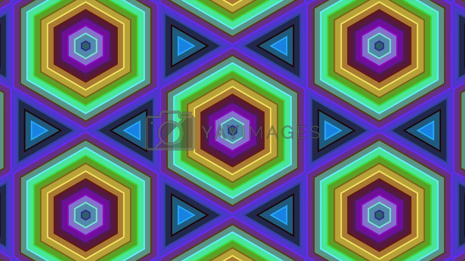 Royalty free image of Abstract hexagon background: Abstract of colorful hexagon with rings by Photochowk