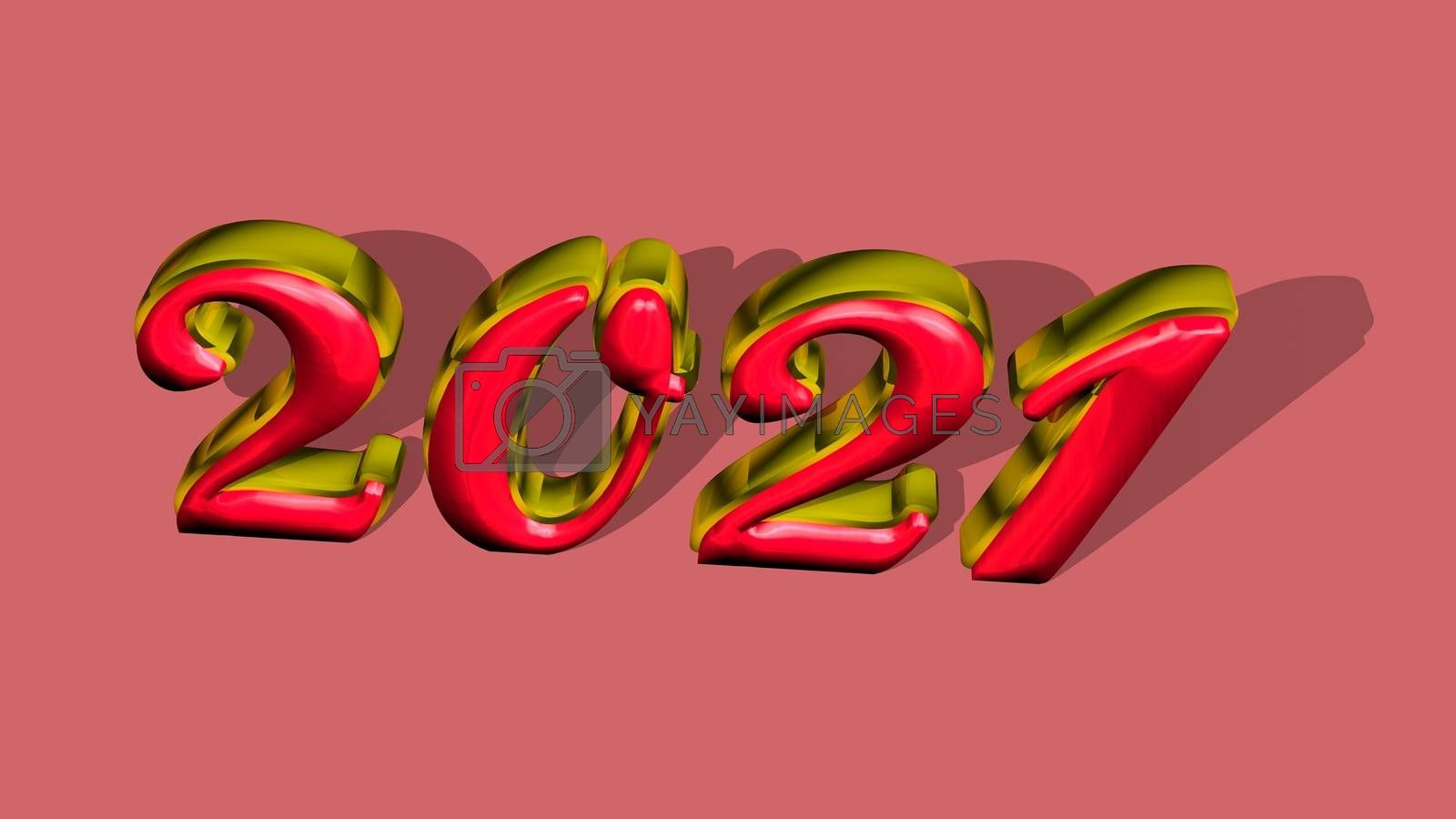 """Royalty free image of 3D pure golden, solid shining text """"2021"""" with pink background. by Photochowk"""