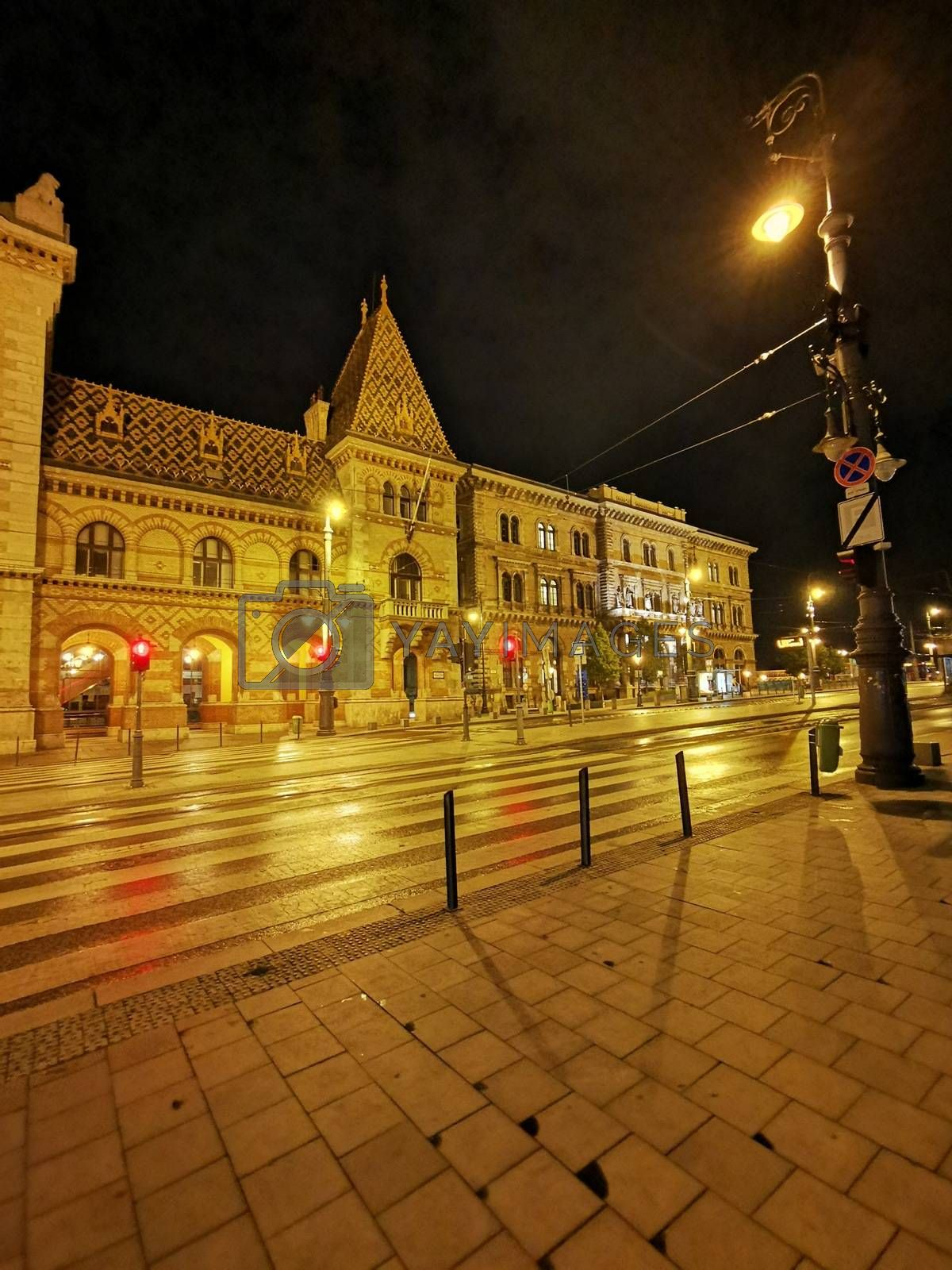 Royalty free image of Main customs square street view in Budapest in the evening lights by balage941
