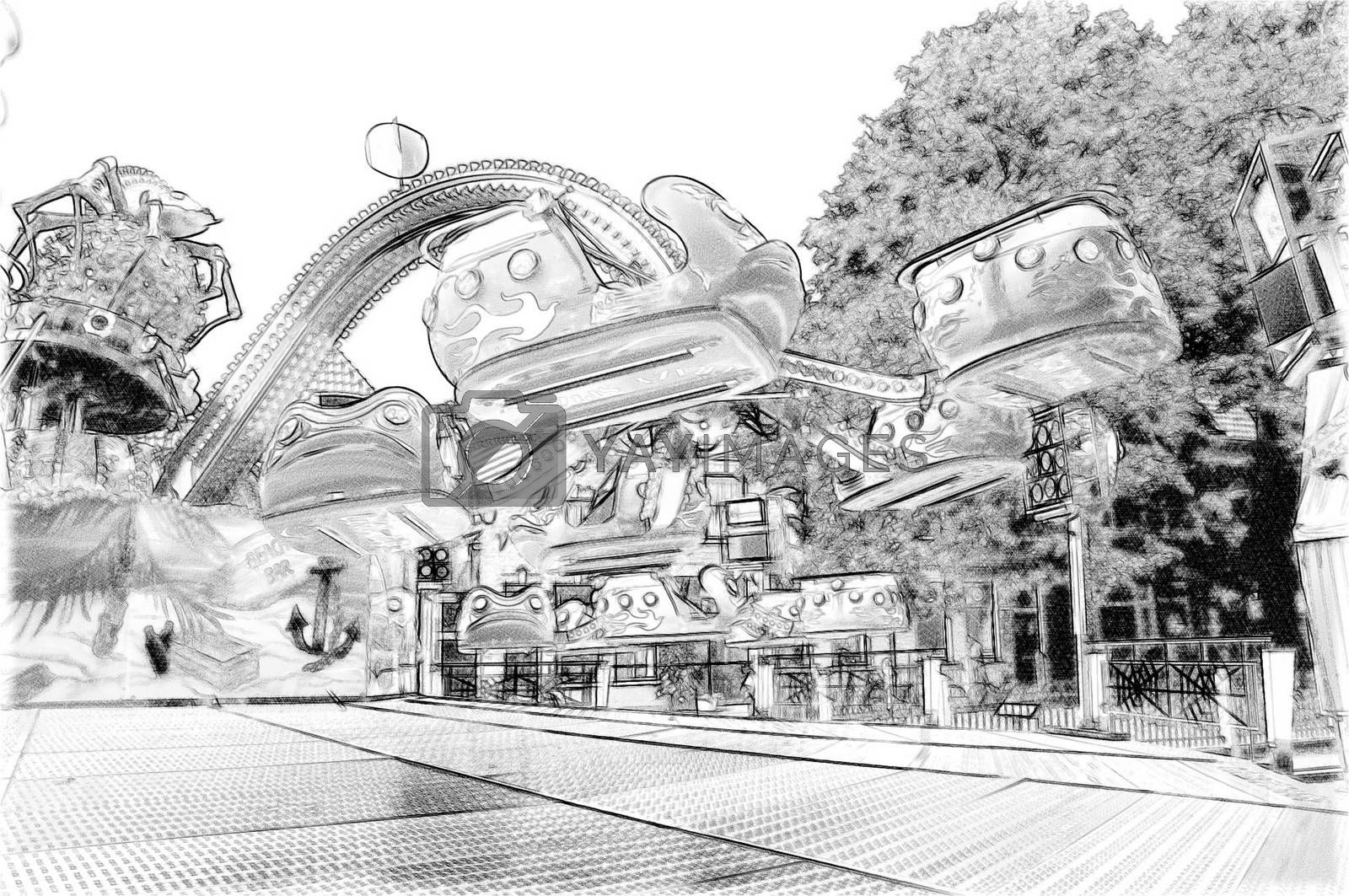 """Royalty free image of """"Octopus"""" machine in the amusement park pencil drawing by balage941"""