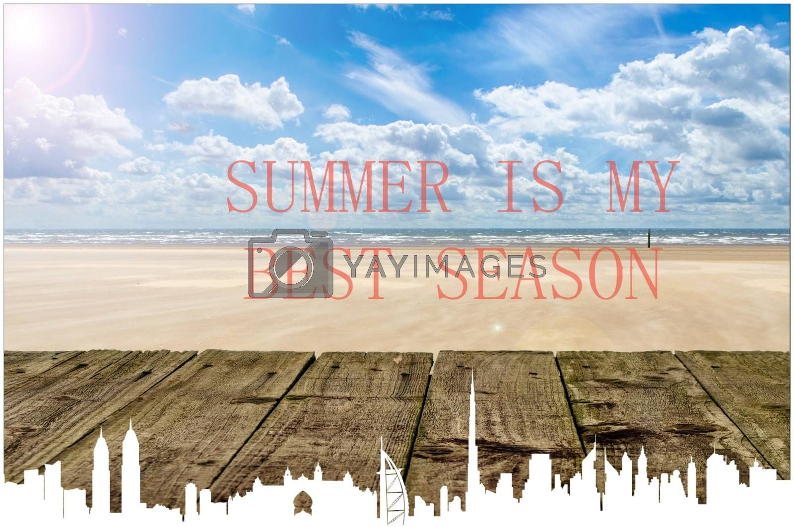 """Royalty free image of """"Summer is my best season"""" wallpaper with postcard frame by balage941"""