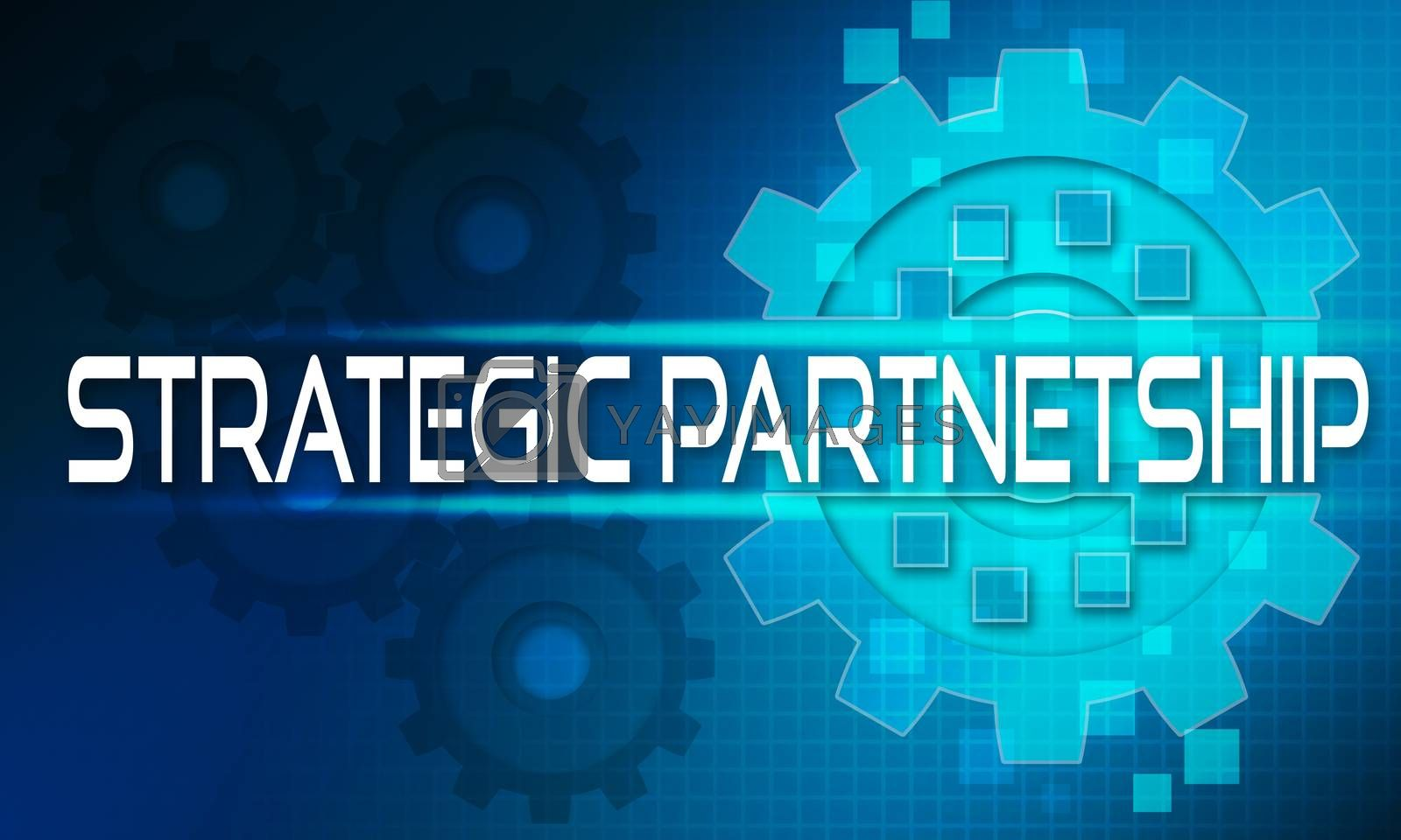 Royalty free image of Strategic partnership concept text on the mechanism of gears. Te by tang90246