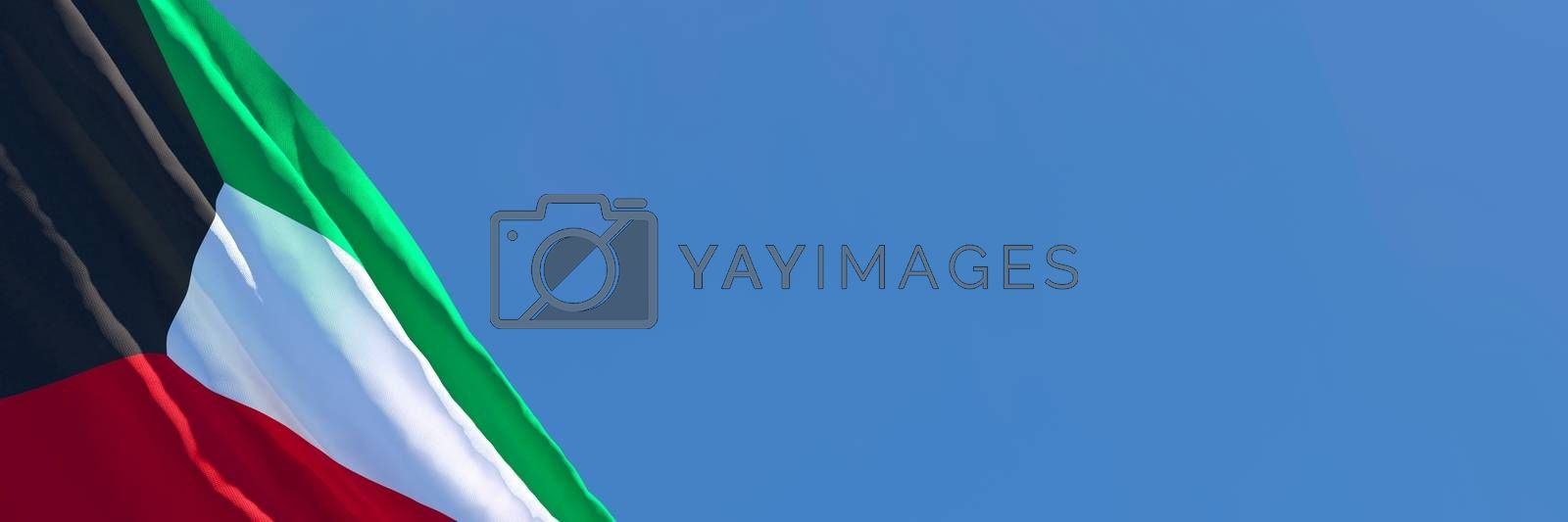 Royalty free image of 3D rendering of the national flag of Kuwait waving in the wind by butenkow