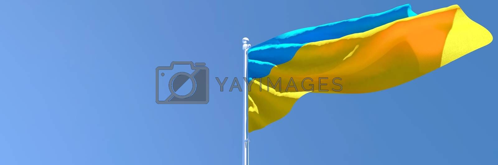 Royalty free image of 3D rendering of the national flag of Ukraine waving in the wind by butenkow