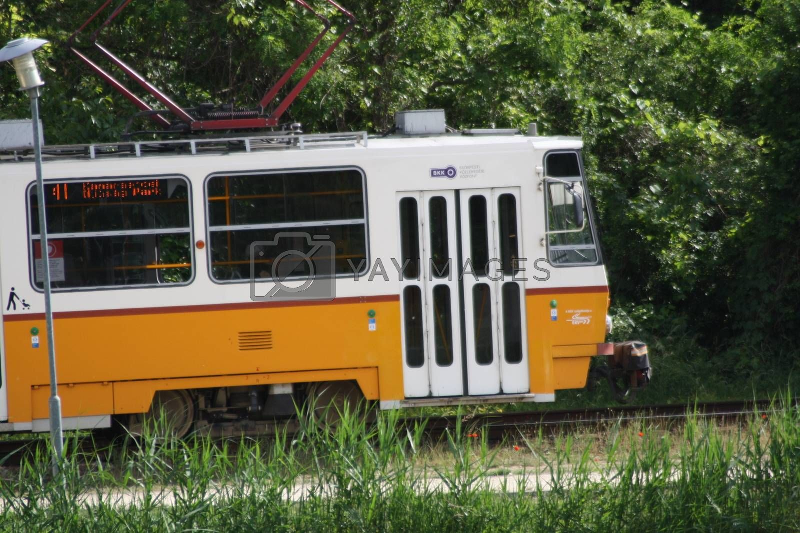 Royalty free image of A bus that is parked on the side of a train by balage941
