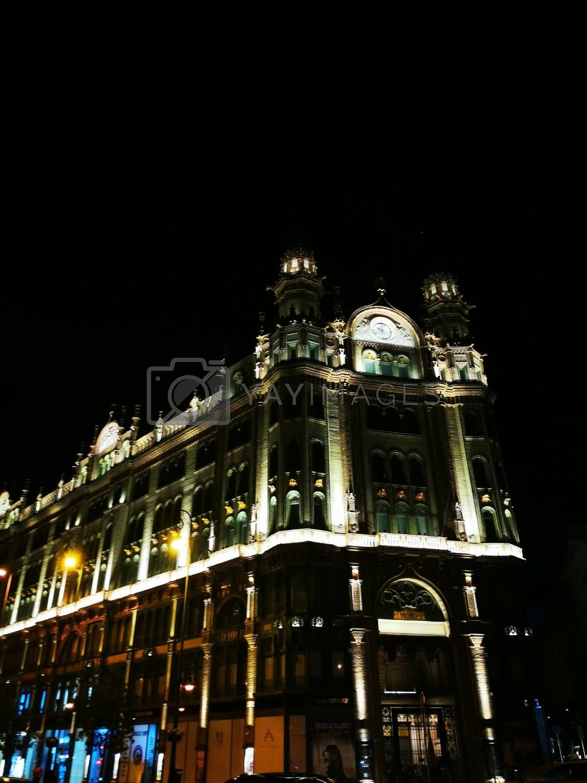 Royalty free image of A huge building in Budapest main street by balage941