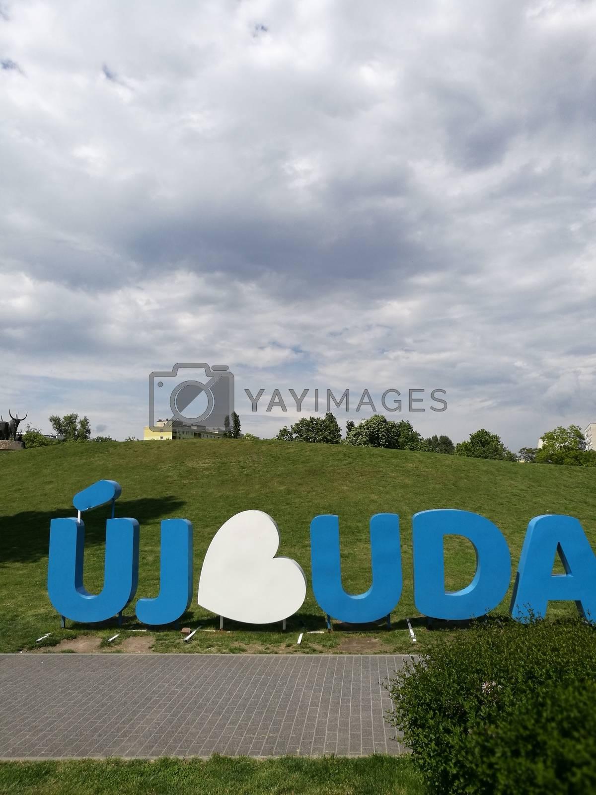 "Royalty free image of Újbuda inscription in the ""Bikás"" park by balage941"