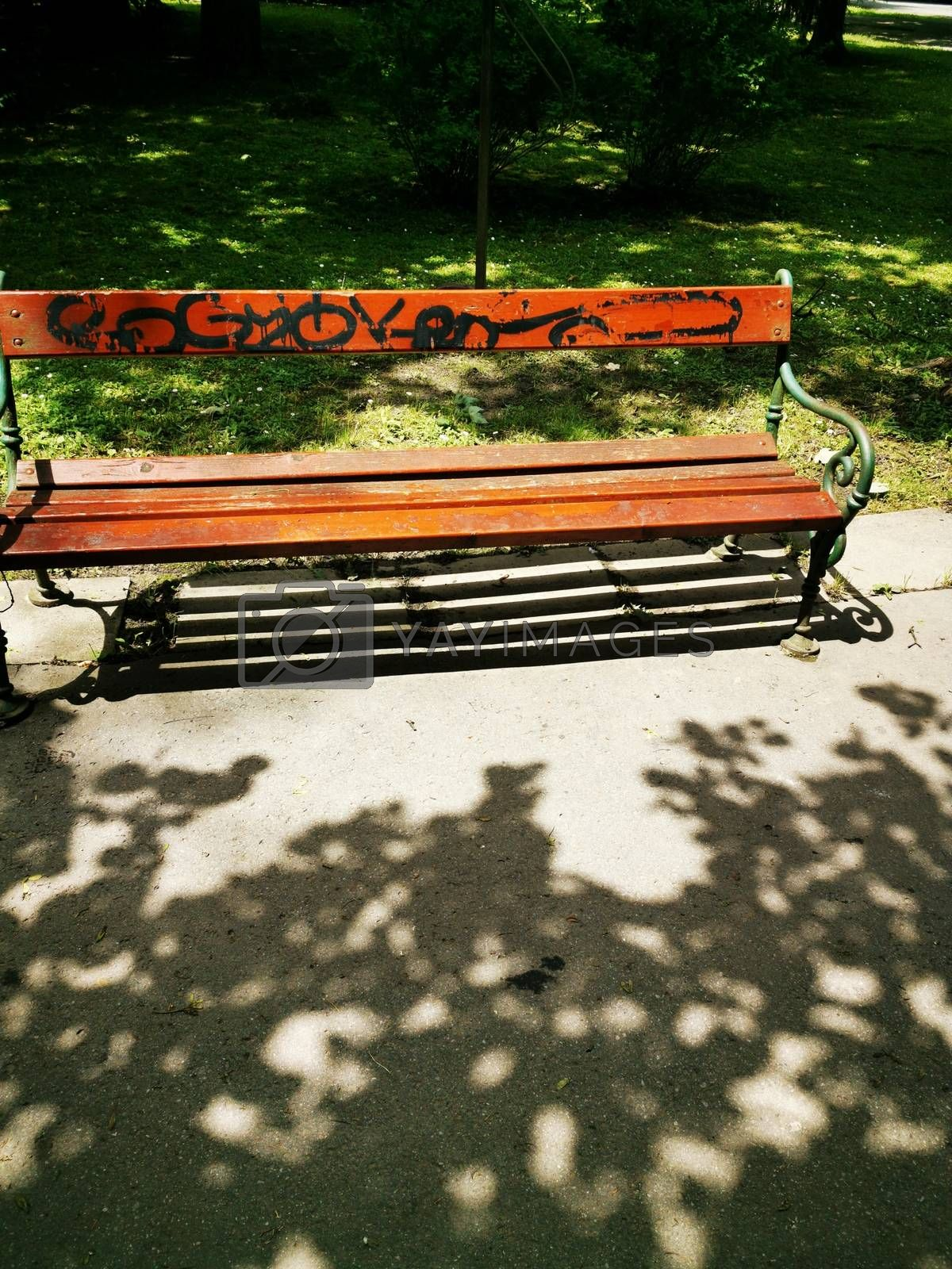 Royalty free image of Wooden bench located in Miskolc/Lillafüred by balage941