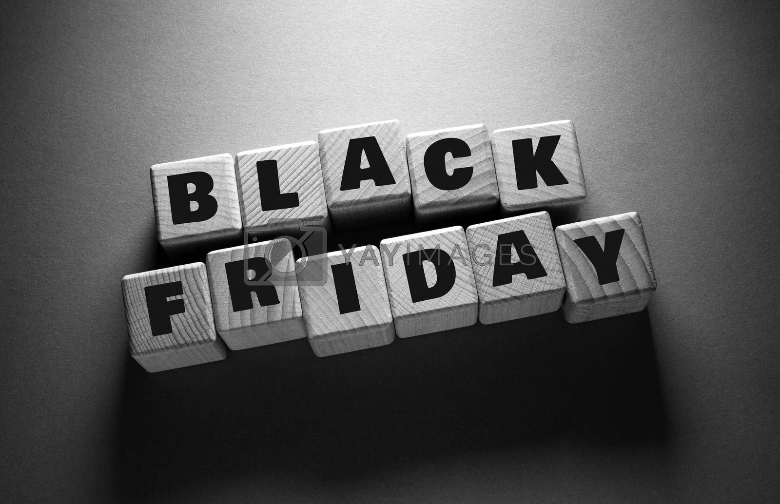 Black Friday Word Written on Wooden Cubes