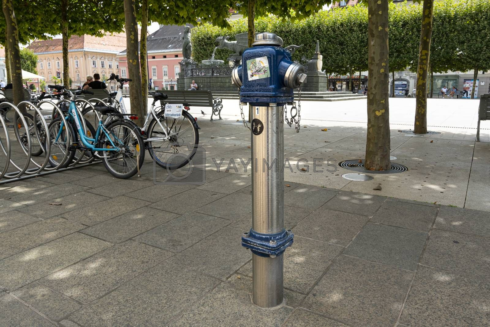 Klagenfurt, Austria. August 16, 2020. in fire hydrant in the sidewalk of the city center
