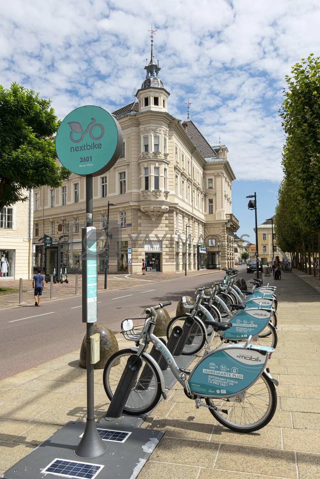 Klagenfurt, Austria. August 16, 2020. Bike rental station in the city center