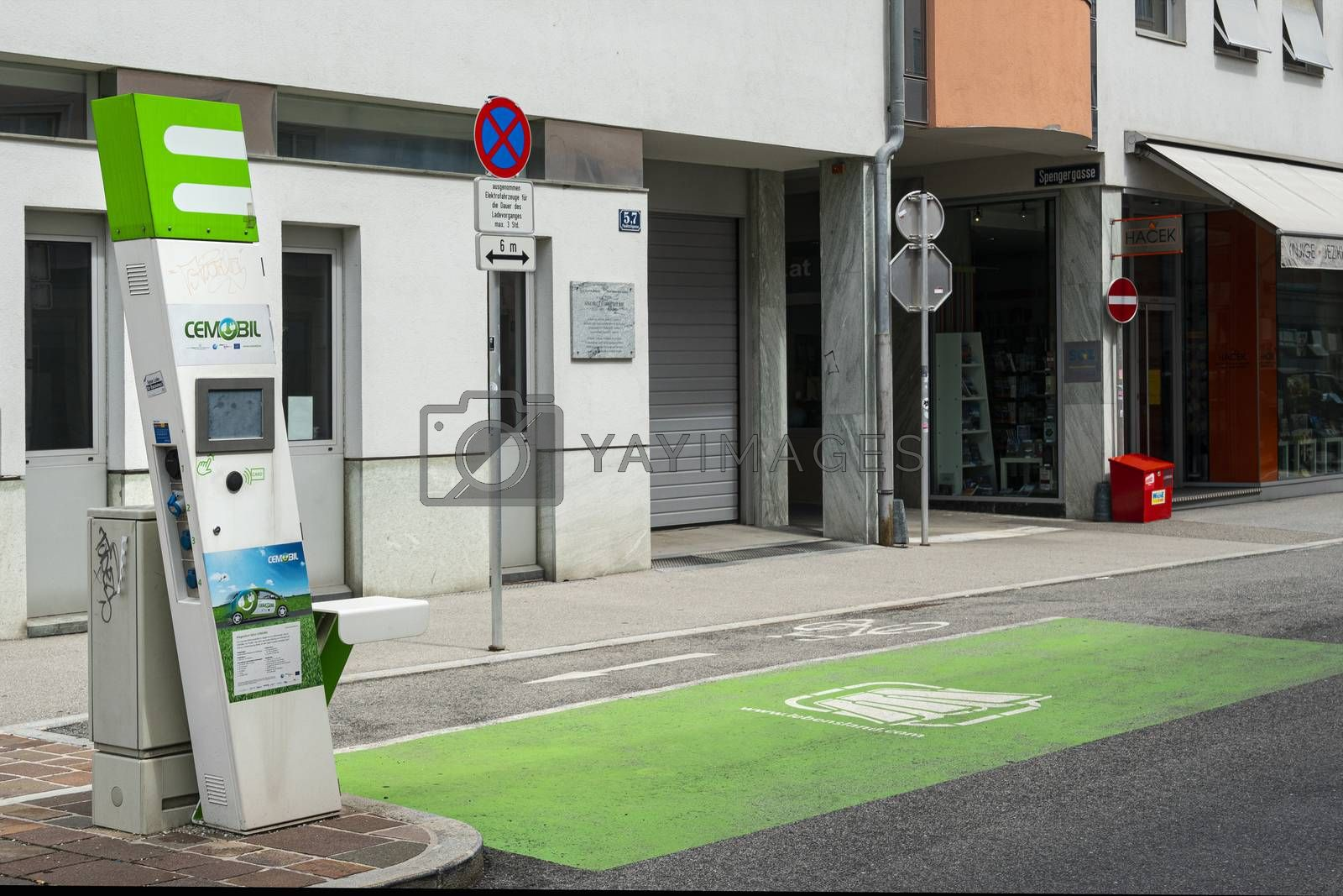 Klagenfurt, Austria. August 16, 2020. An electric vehicle charging station in a street in the city center.