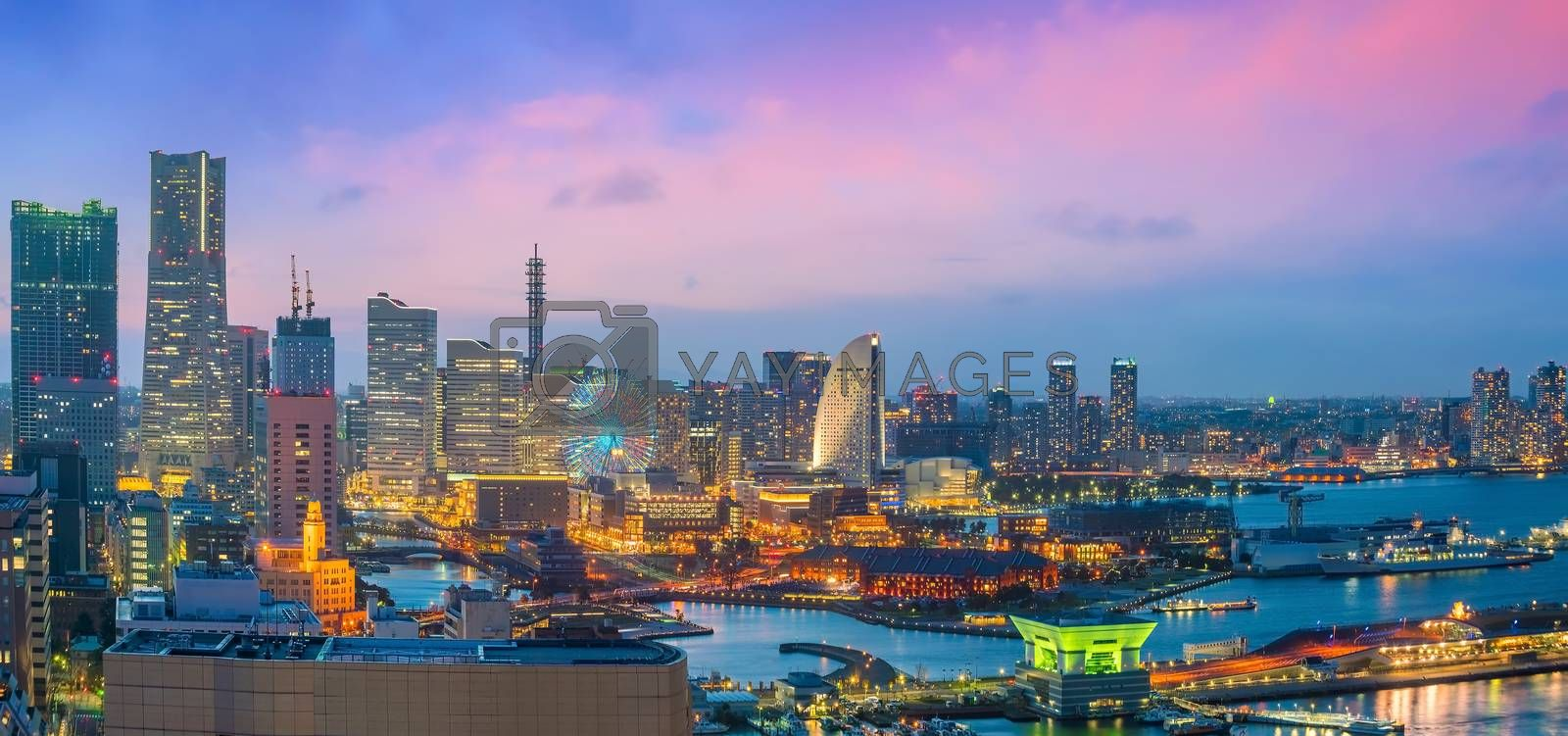 Royalty free image of Yokohama city skyline from top view at sunset by f11photo