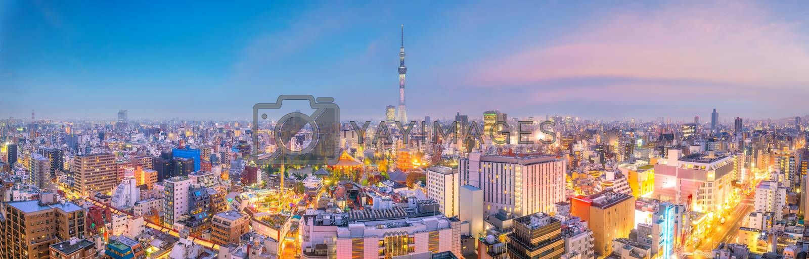 Royalty free image of View of Tokyo skyline at sunset  by f11photo