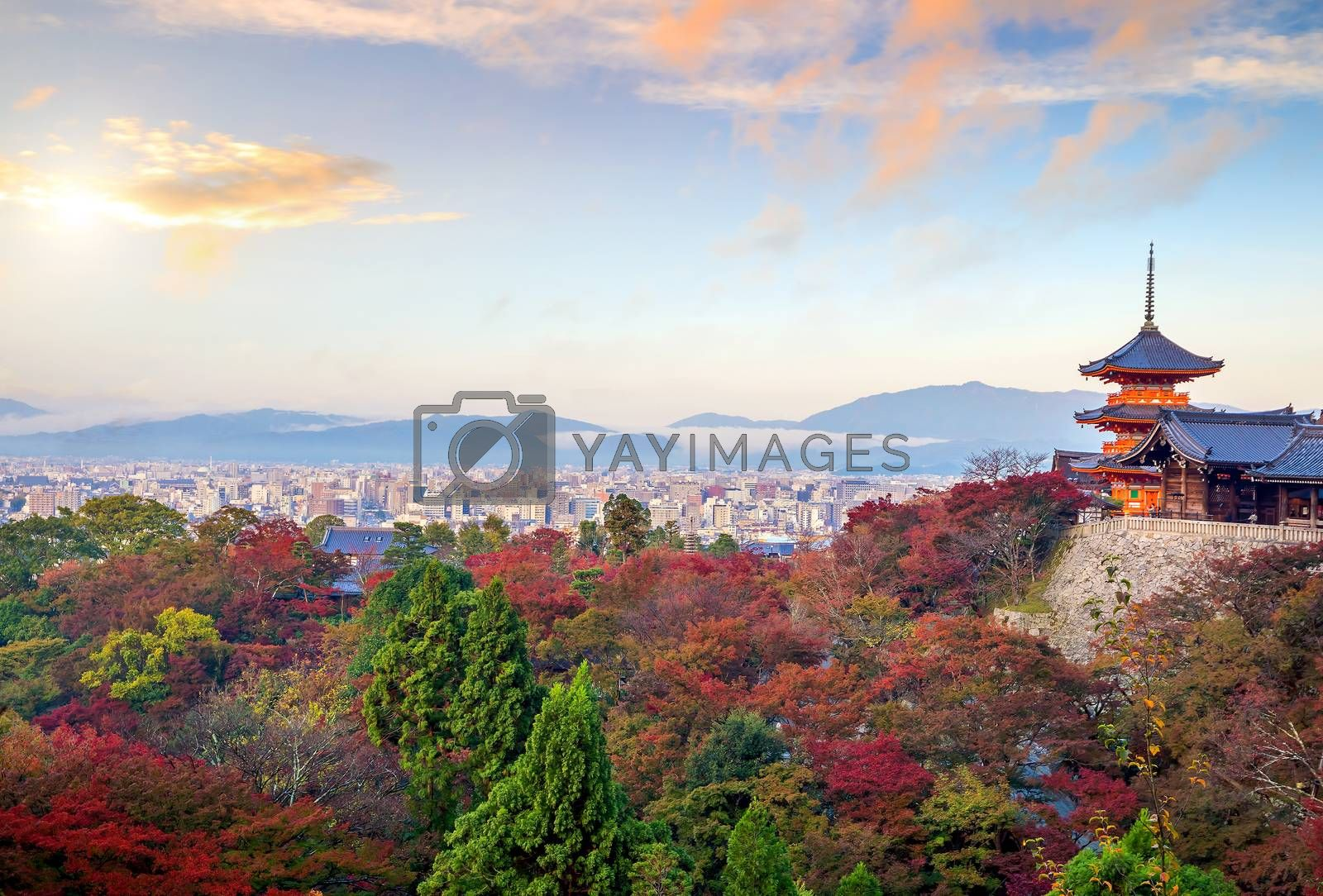 Royalty free image of Autumn Color of Kyoto skyline and Kiyomizu-dera Temple in Kyoto by f11photo