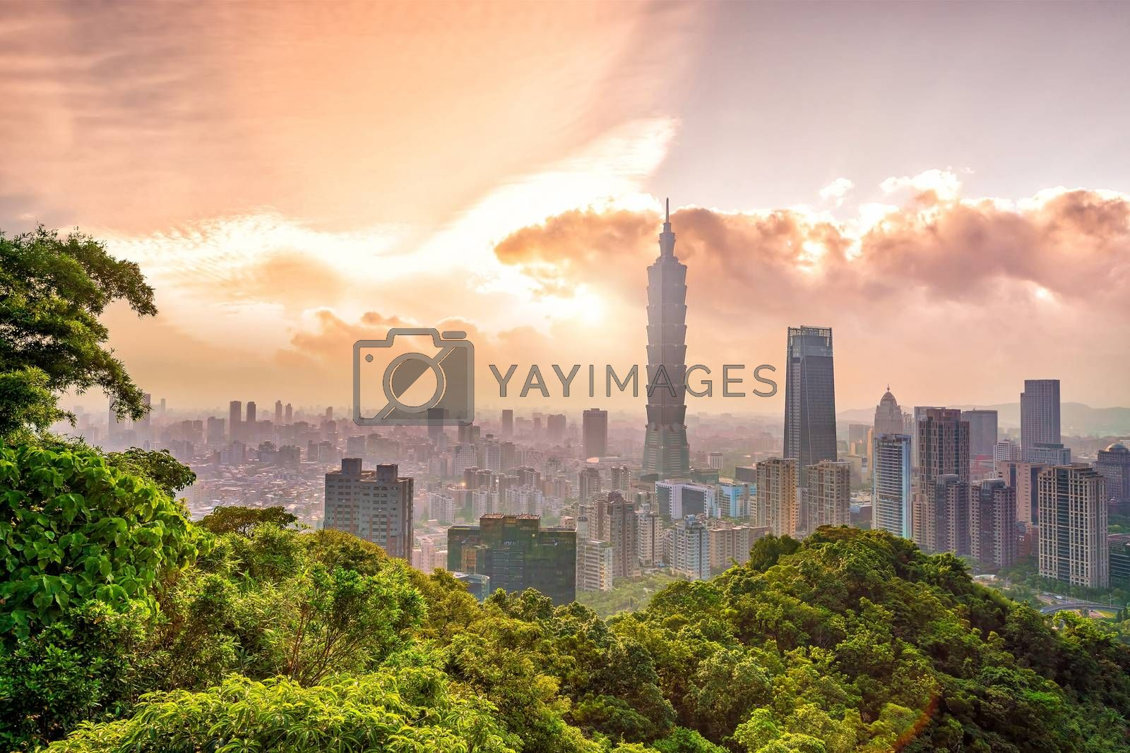 Royalty free image of Taipei city skyline landscape at sunset time by f11photo