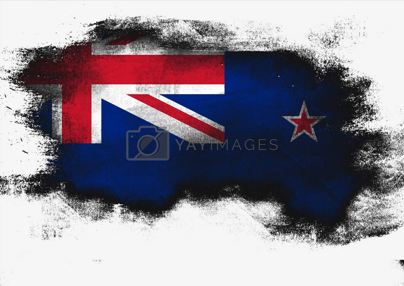 Royalty free image of New Zealand flag painted with brush by tang90246
