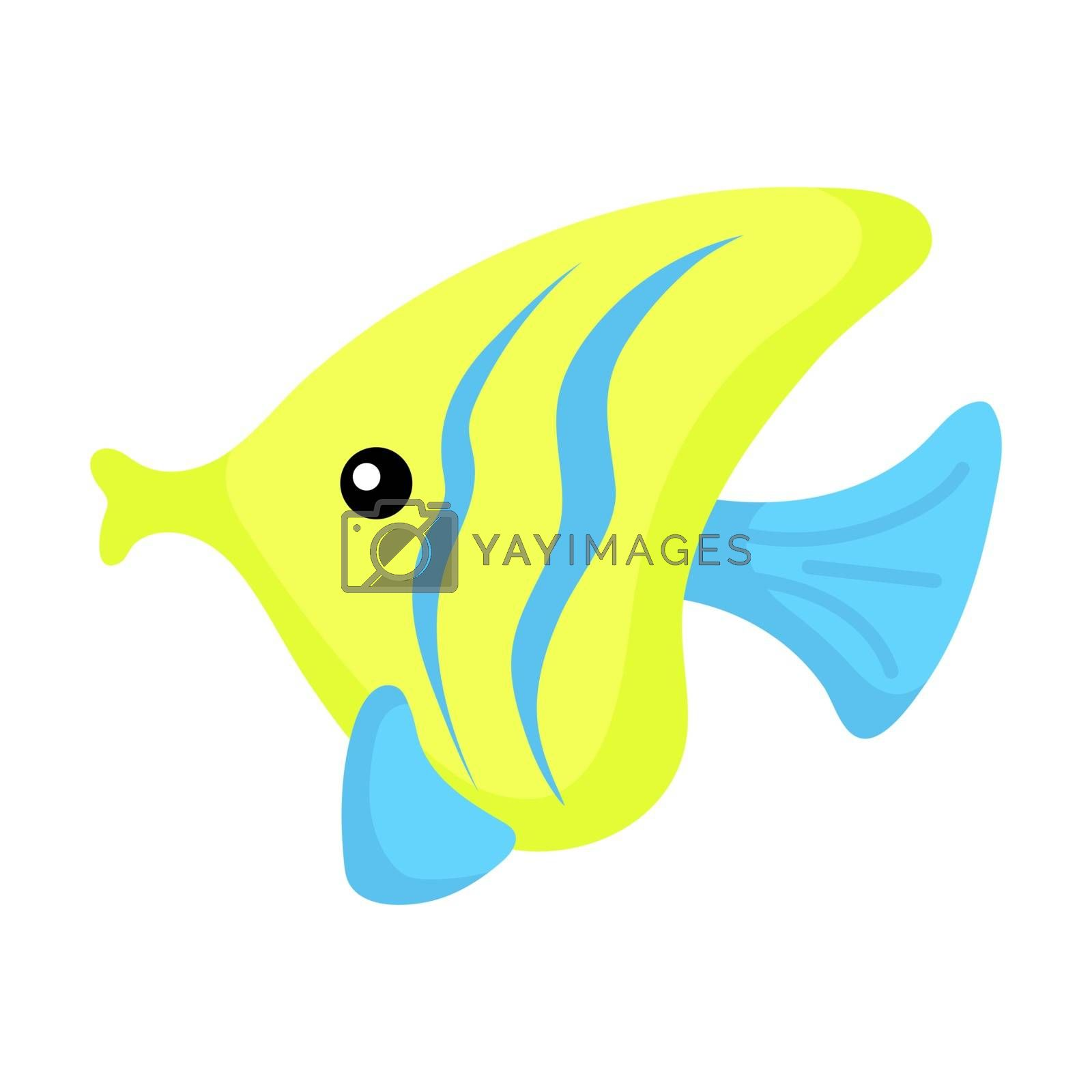 Royalty free image of Cute funny yellow fish print on white background. Ocean cartoon  by Melnyk