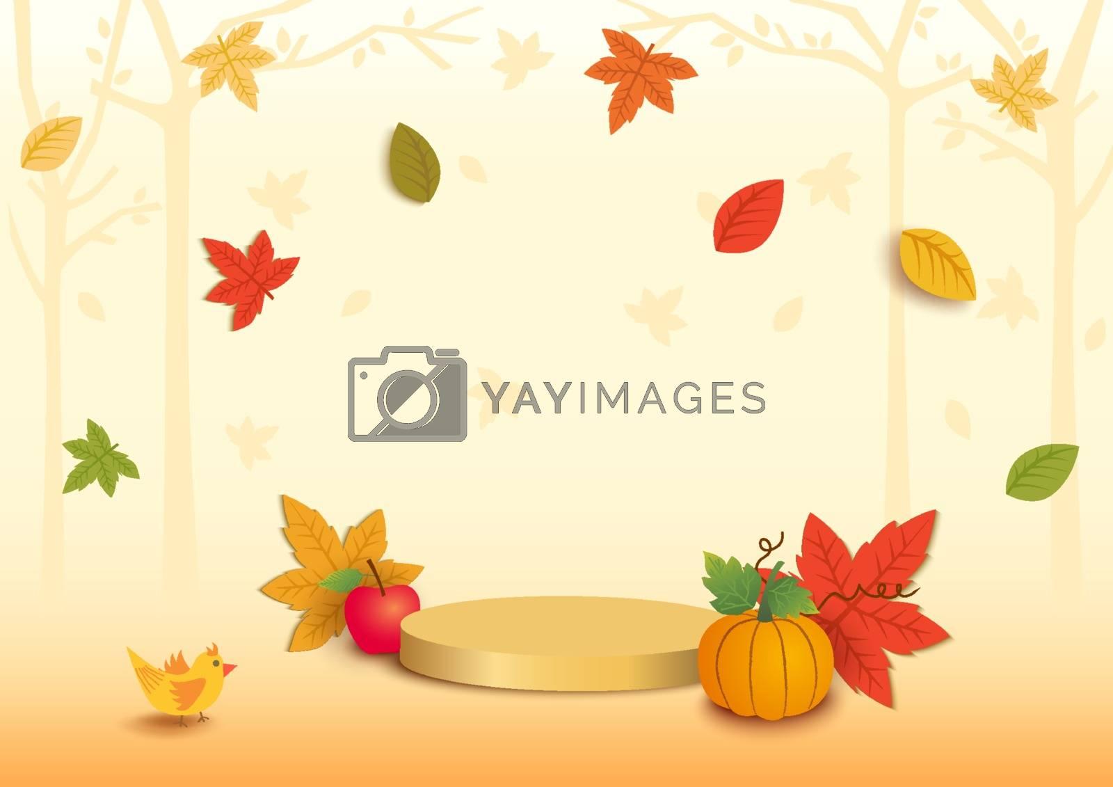 Illustration of Autumn season with platform background