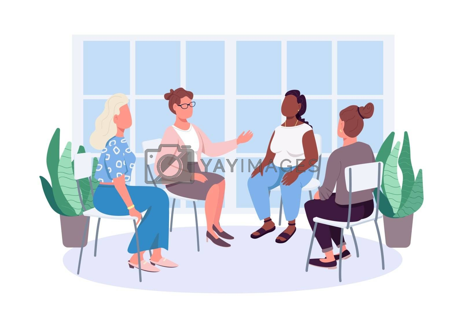 Royalty free image of Modern-day feminists therapy flat color vector faceless characters by ntl