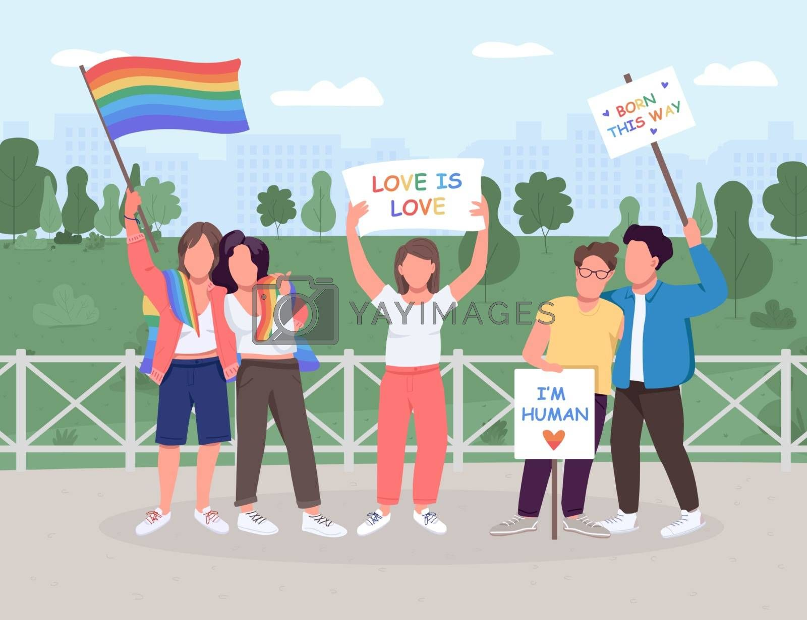 Royalty free image of LGBT social movement flat color vector illustration by ntl