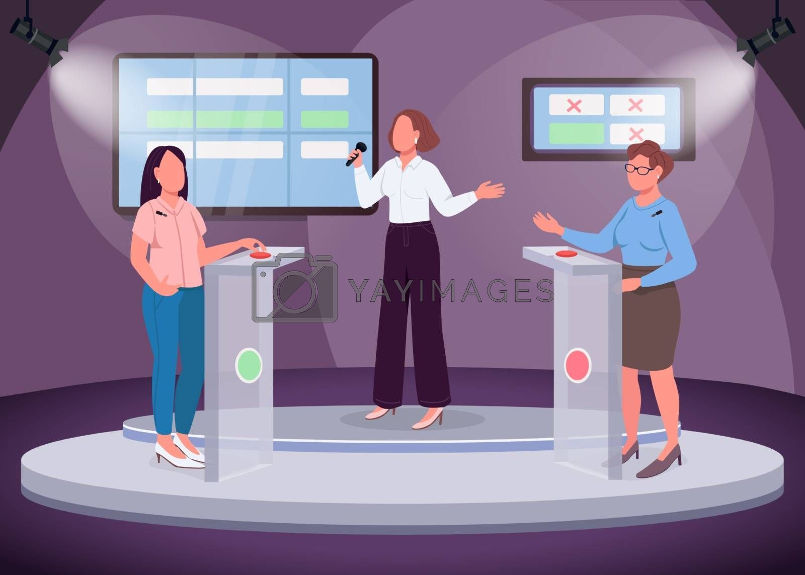 Royalty free image of Intellectual show flat color vector illustration by ntl