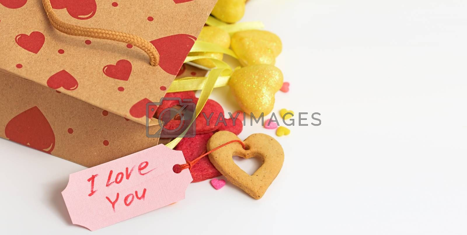 Valentines Day. I love you. Holidays card with copy space.