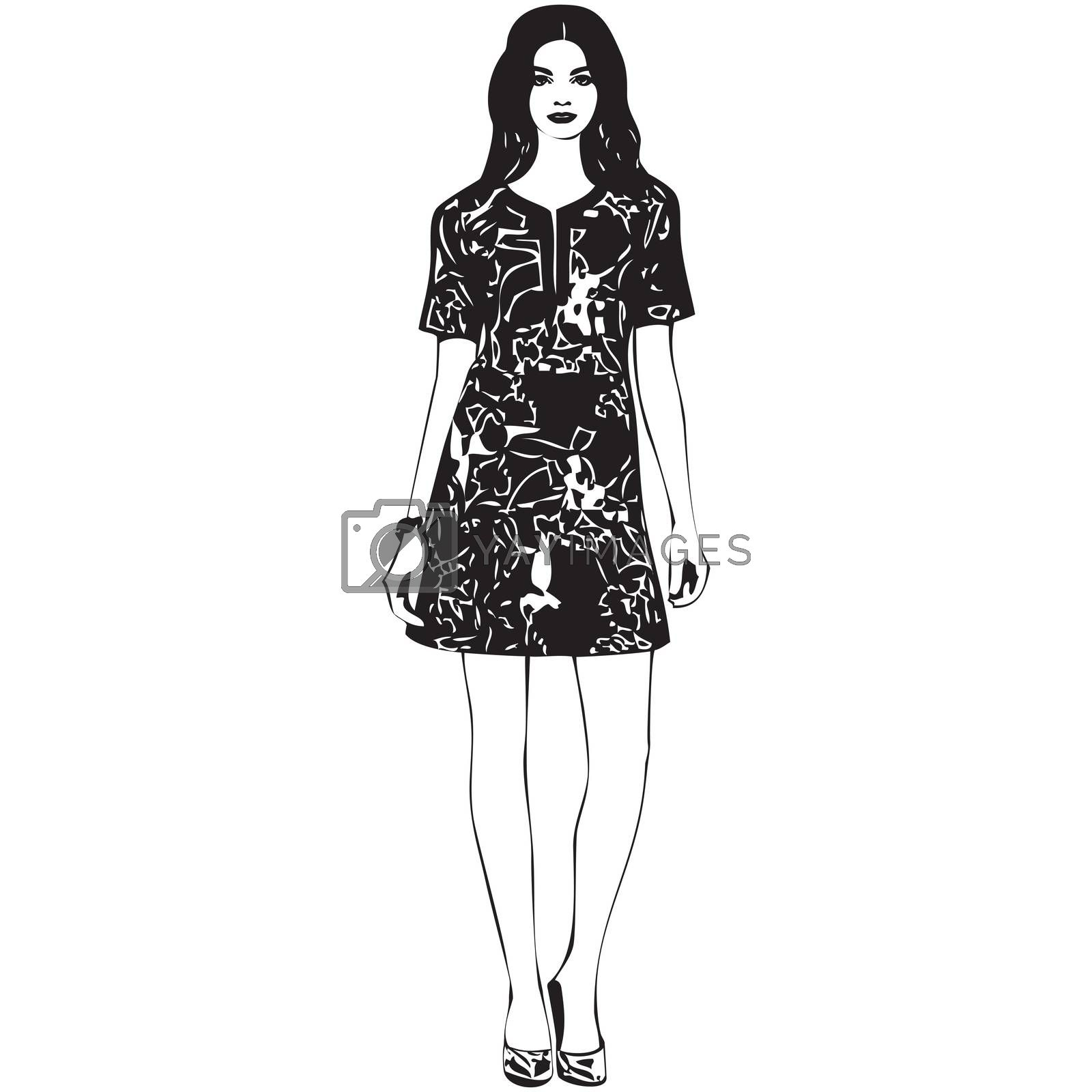Beautiful young women in a fashion dress. Bright floral print on dress. Vector drawing illustration isolated on white background.
