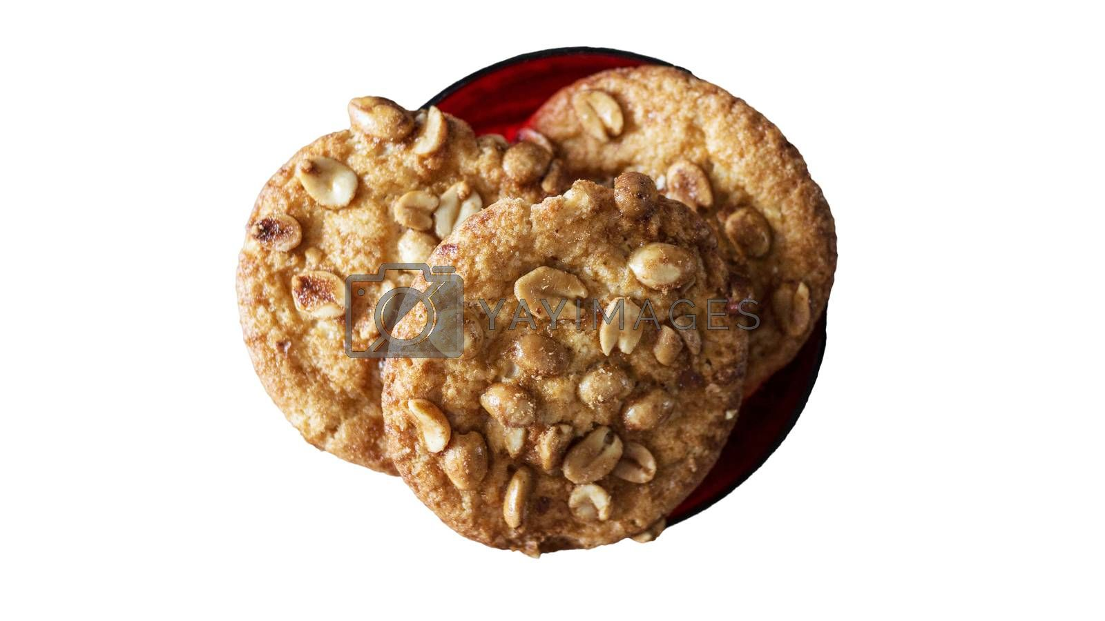 Royalty free image of Top view of peanut filled cookies isolated on white. by Andriii_Klapkoo
