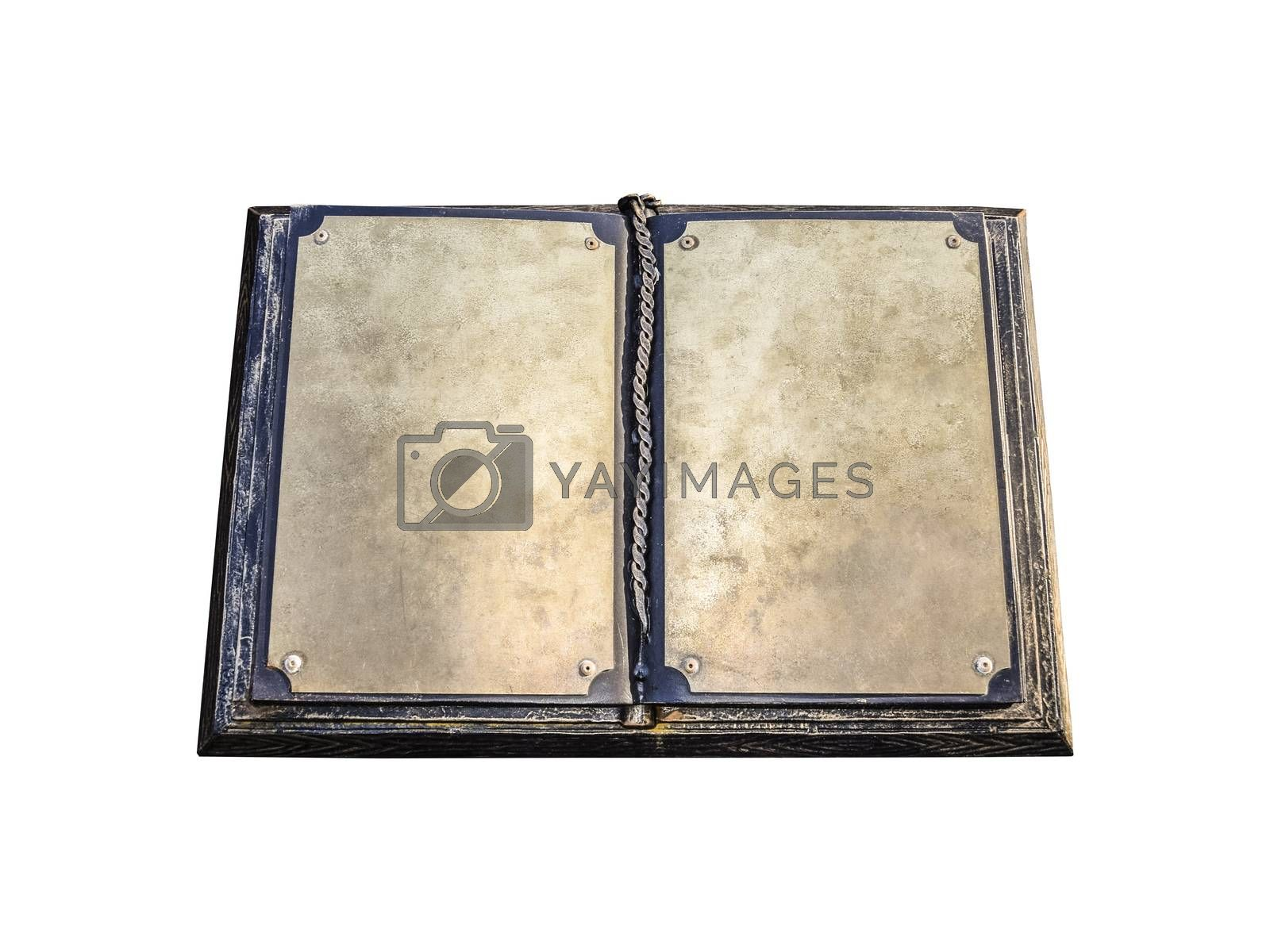 An old metal book. Blank pages of an old book.