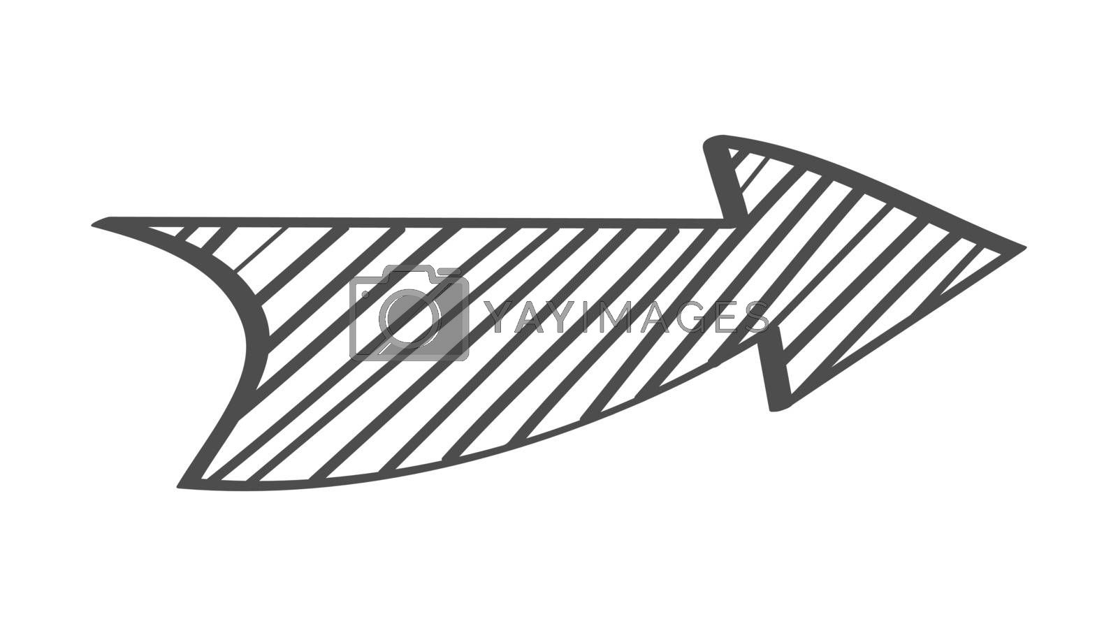 Single shaded arrow. Vector drawing in the Doodle style, isolated on a white background for design and theme design.