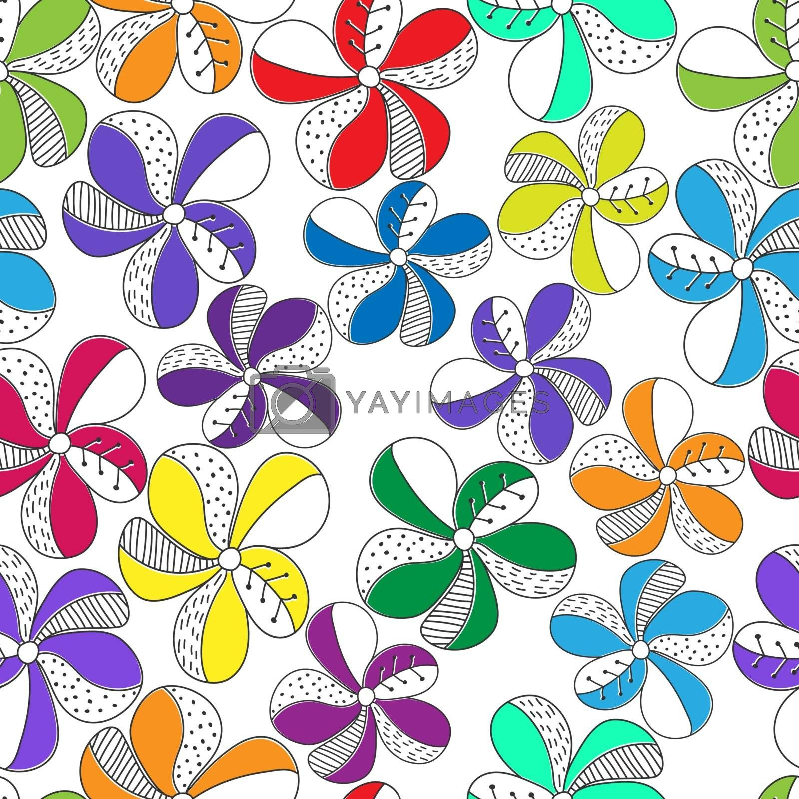 Vector seamless color flower pattern for simple backgrounds and textures, fabric, packaging and wrappers, for theme design