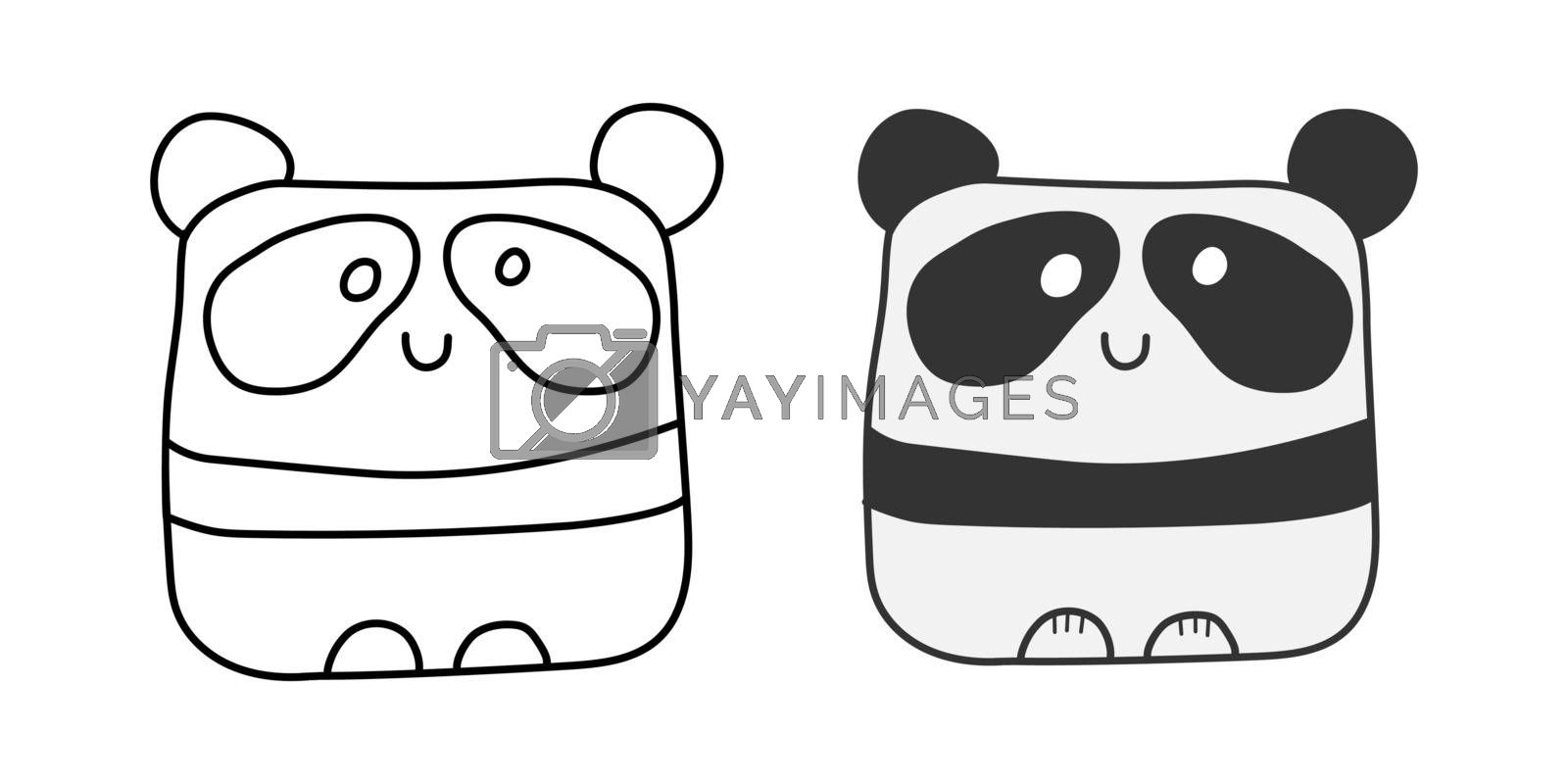 Set of abstract Panda images. Empty silhouette and filled contour for coloring, sticker, theme design and decoration.