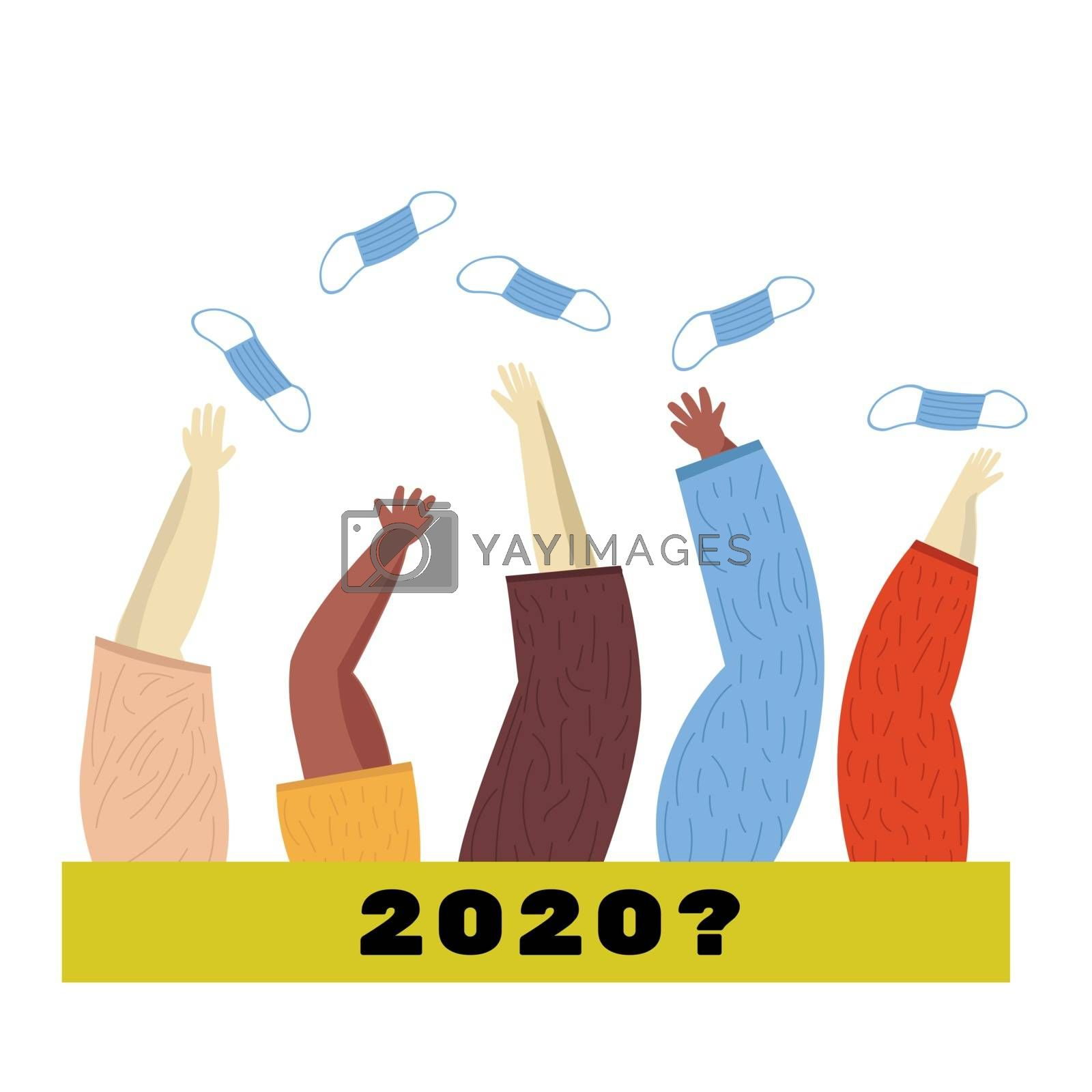 End of the coronavirus pandemic, People raise their hands and throw masks. The concept of completing quarantine and isolation from coronavirus. 2020 in question.