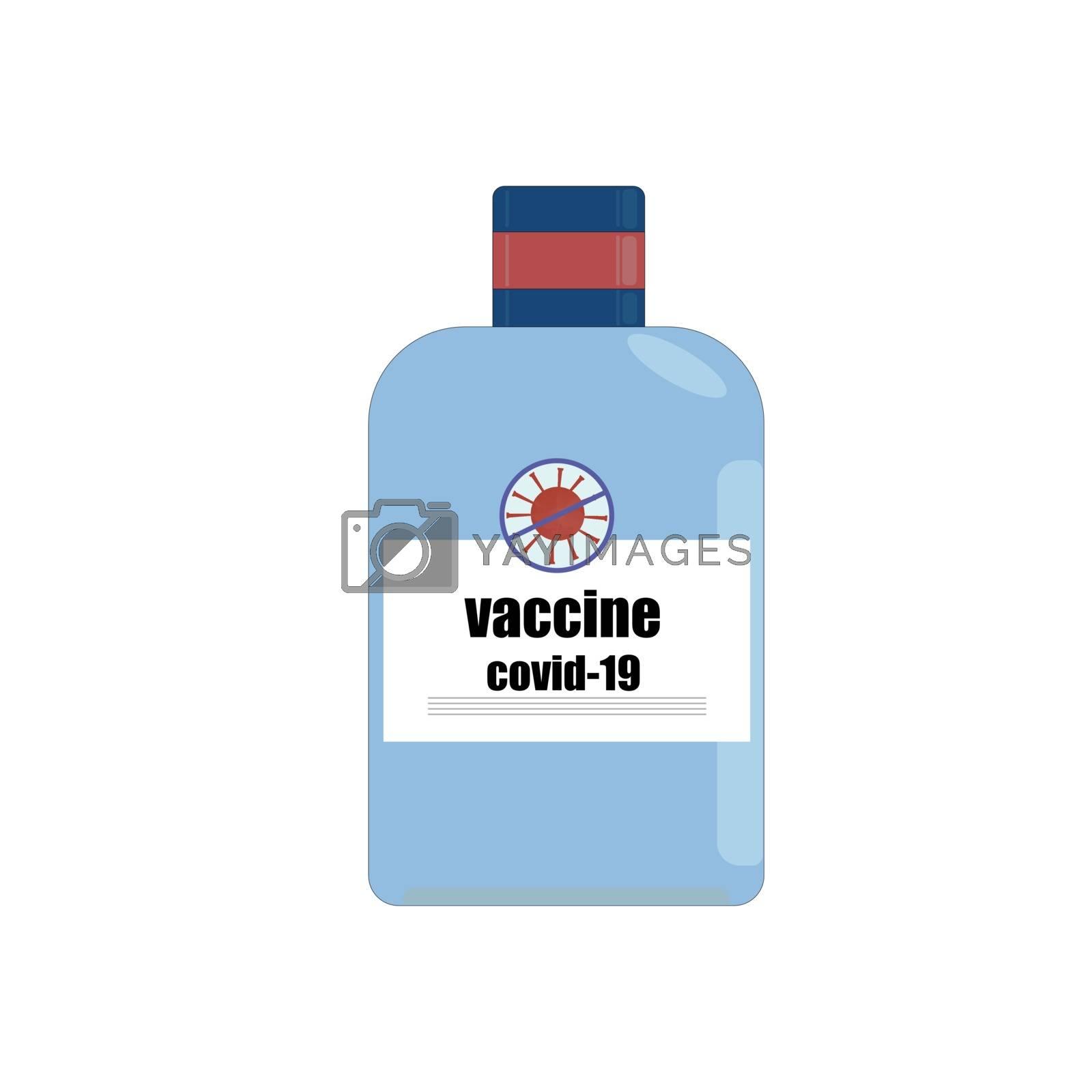 A jar of medicine. Covid-19 coronavirus vaccine. 2019 coronavirus vaccine.Vector illustration.