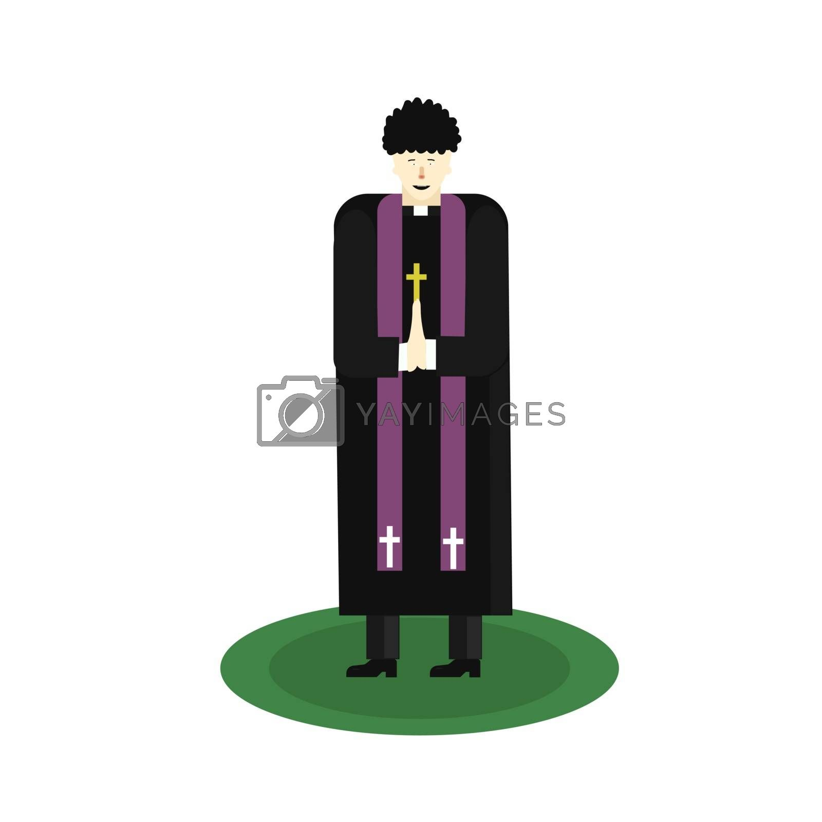 Asian Catholic priest. The pastor reads a prayer, holds a cross, bible and gospel. Cartoon flat vector illustration. Objects isolated